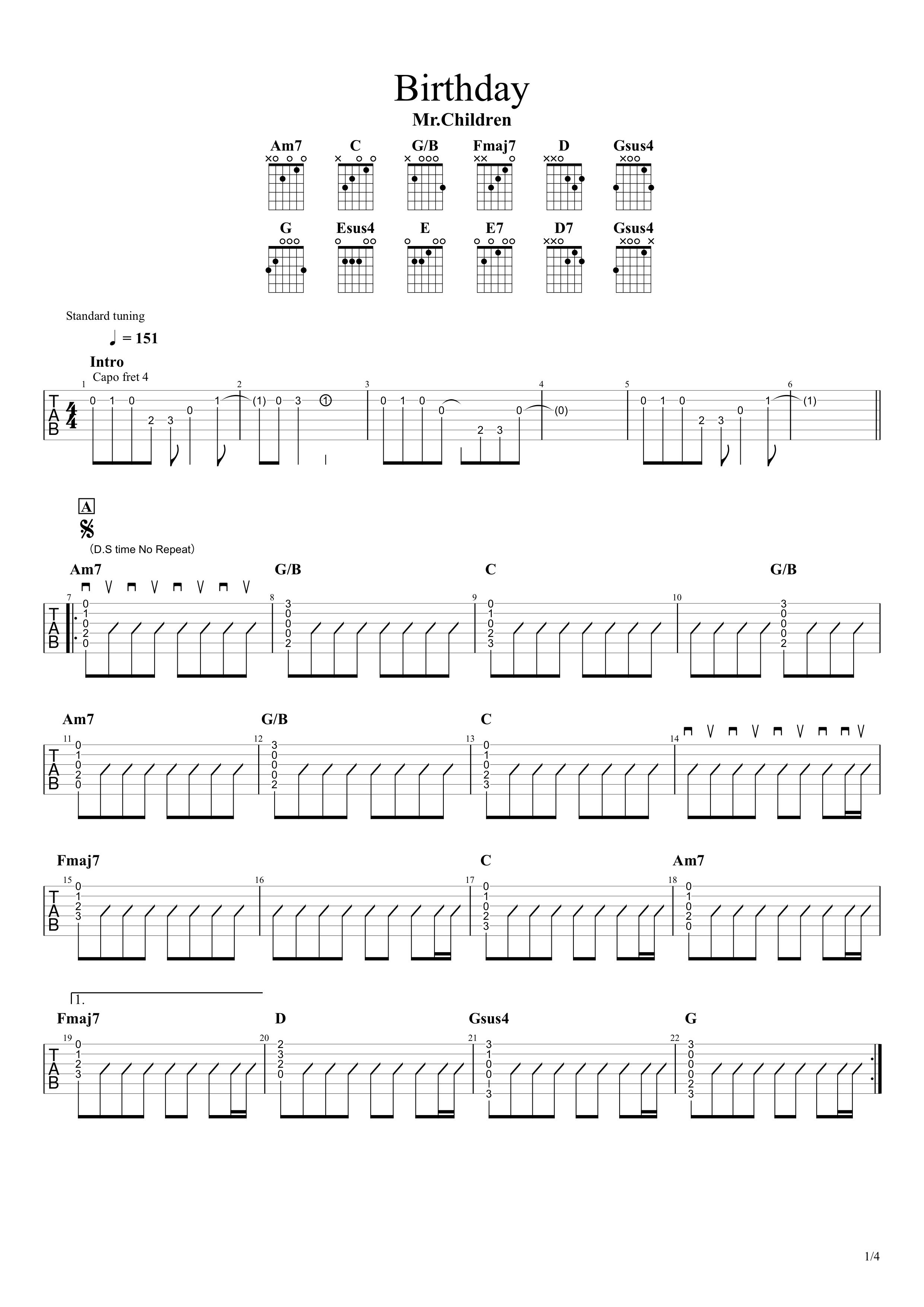 Birthday/Mr.Children ギターコード&タブ譜01