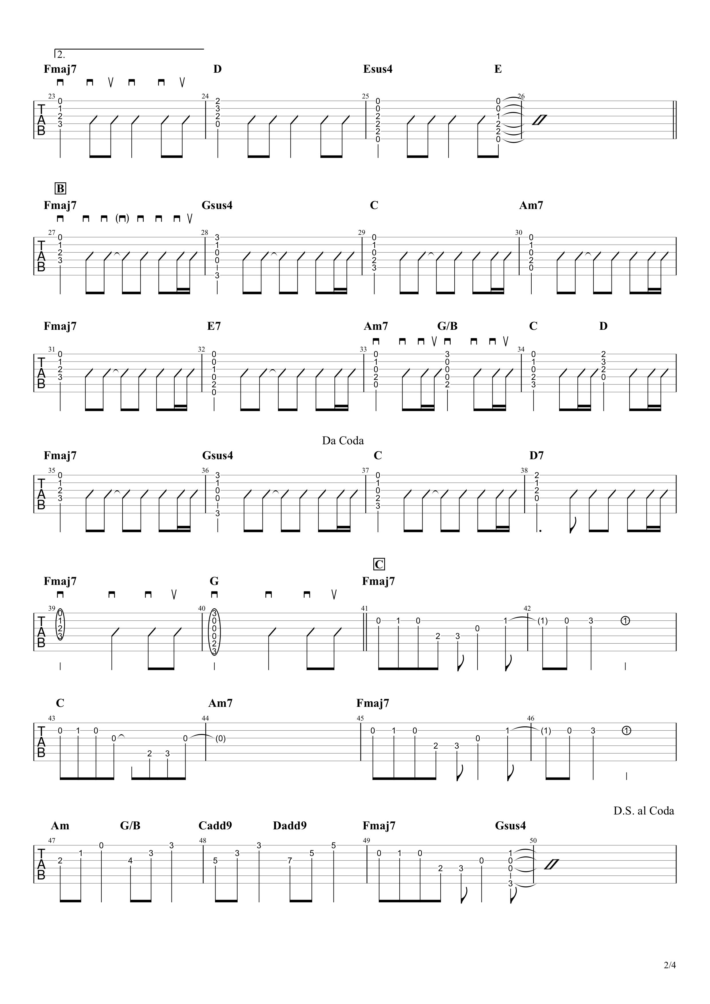 Birthday/Mr.Children ギターコード&タブ譜02