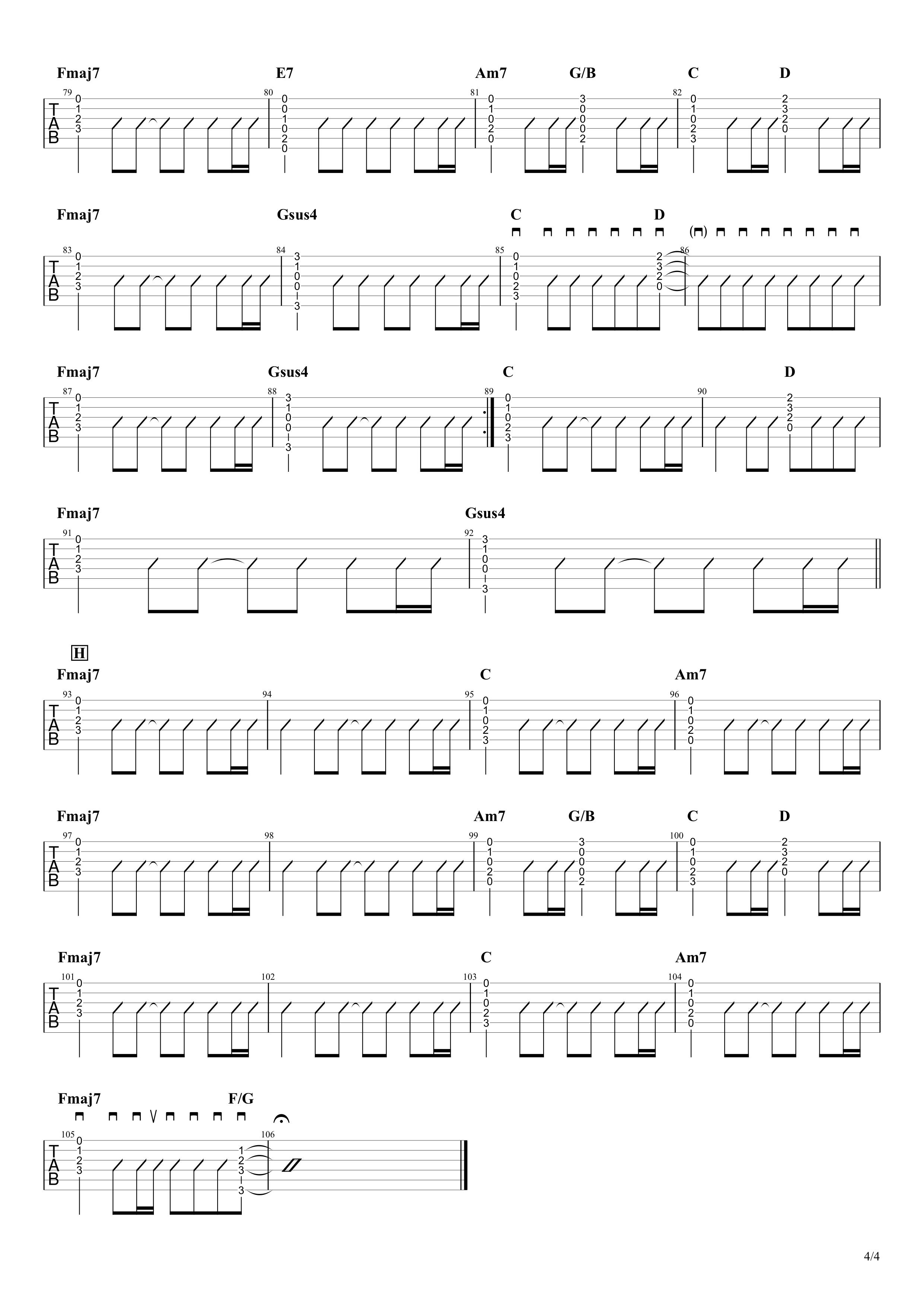 Birthday/Mr.Children ギターコード&タブ譜04