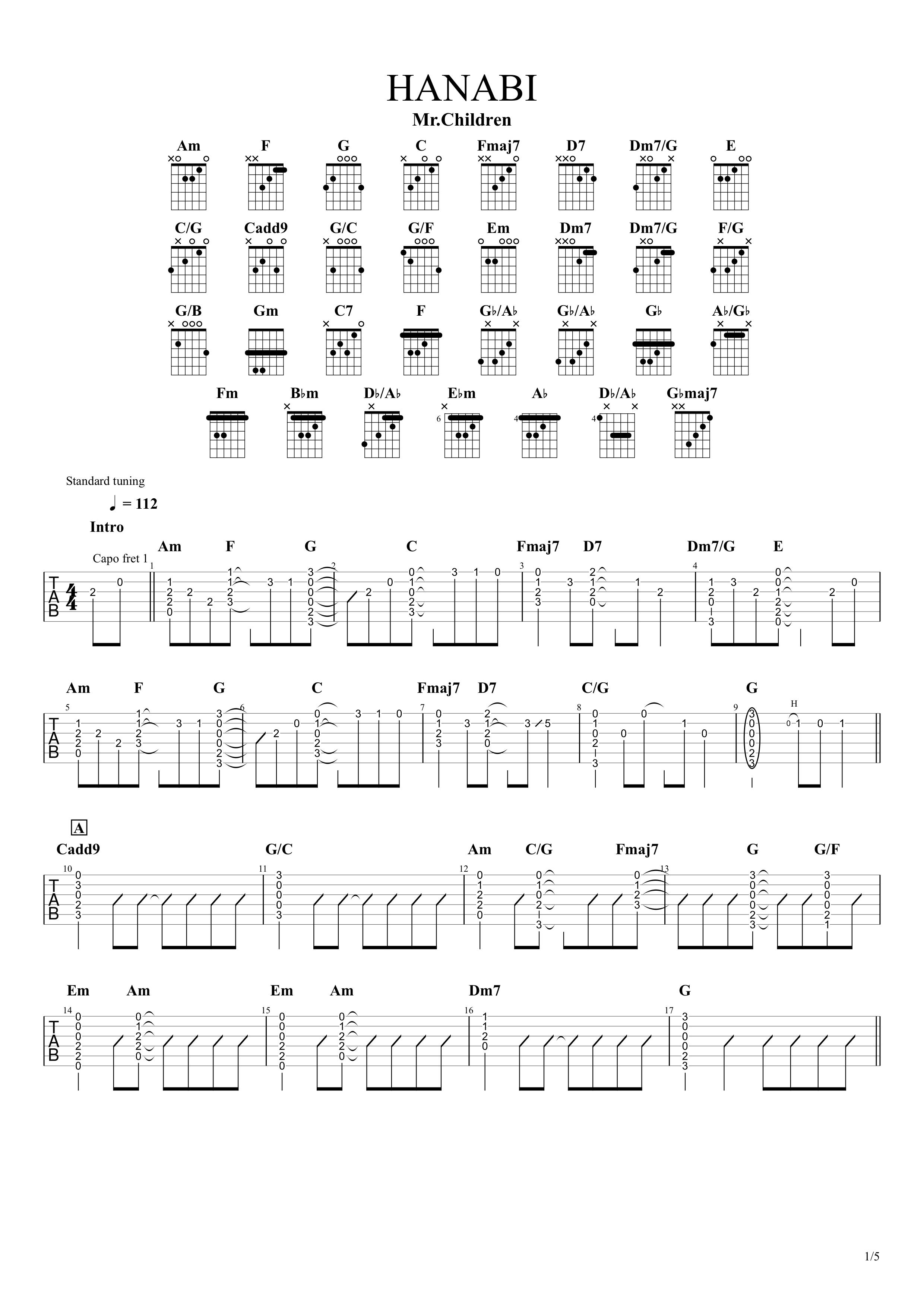 HANABI/Mr.Children ギタータブ譜01