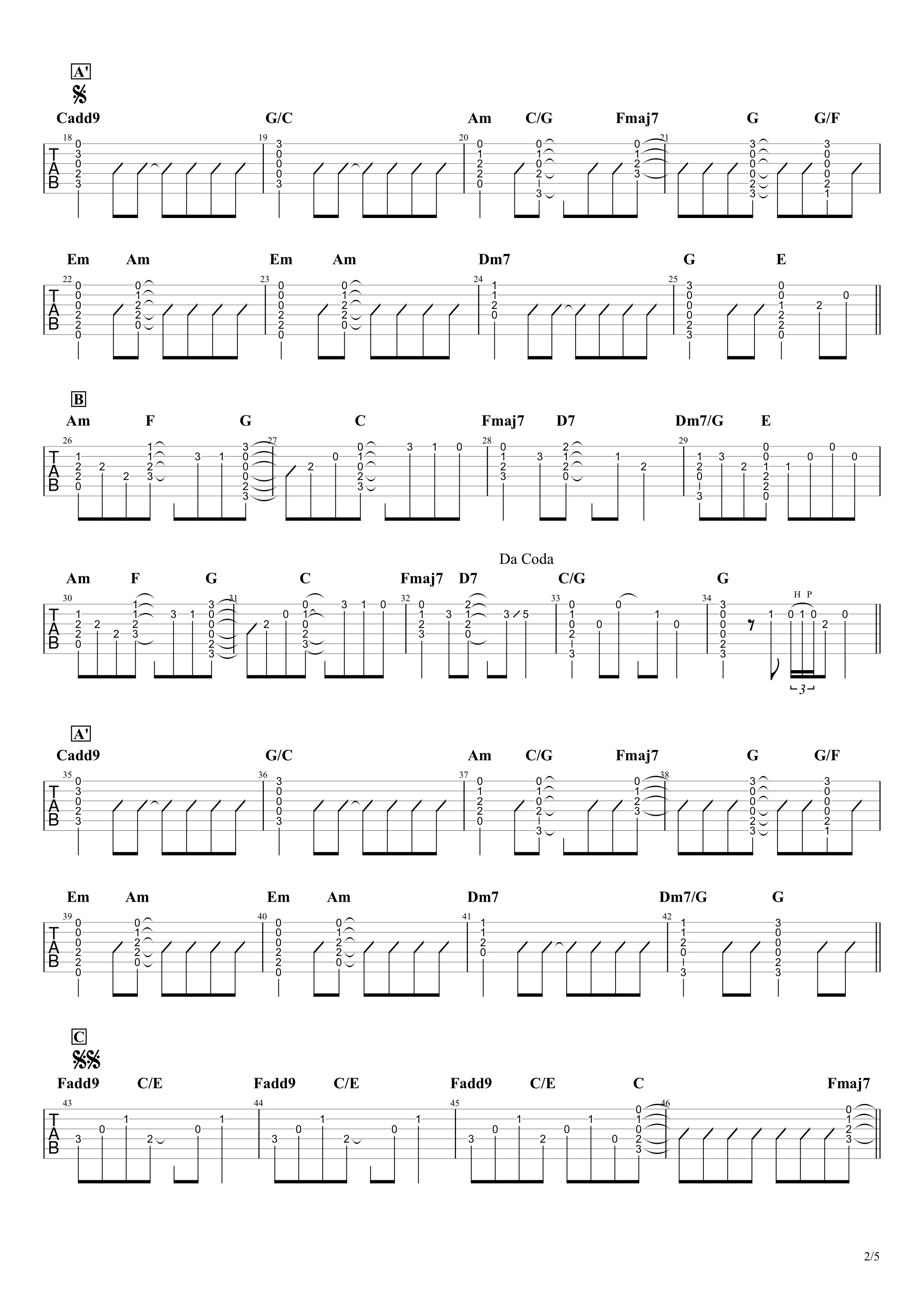HANABI/Mr.Children ギタータブ譜02