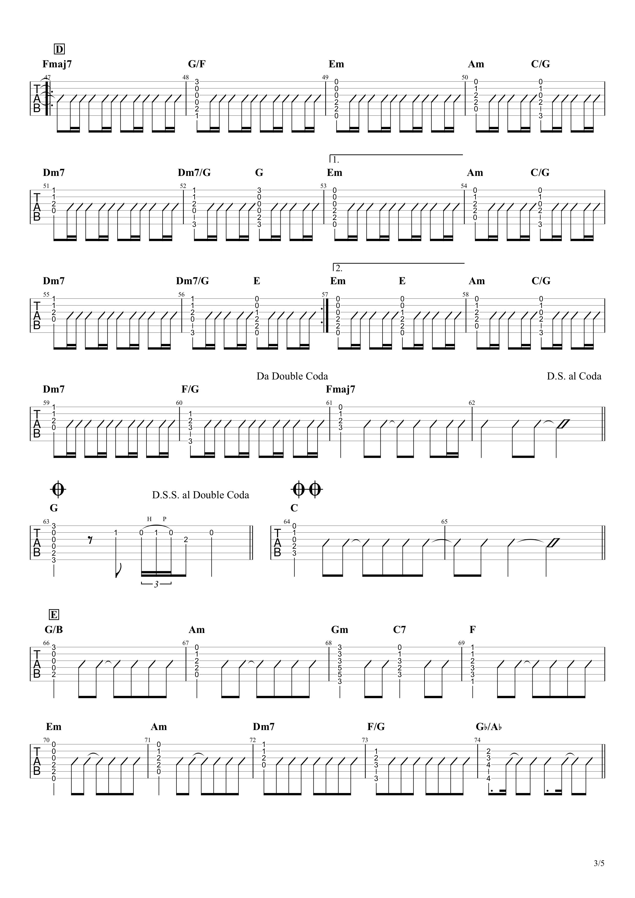 HANABI/Mr.Children ギタータブ譜03