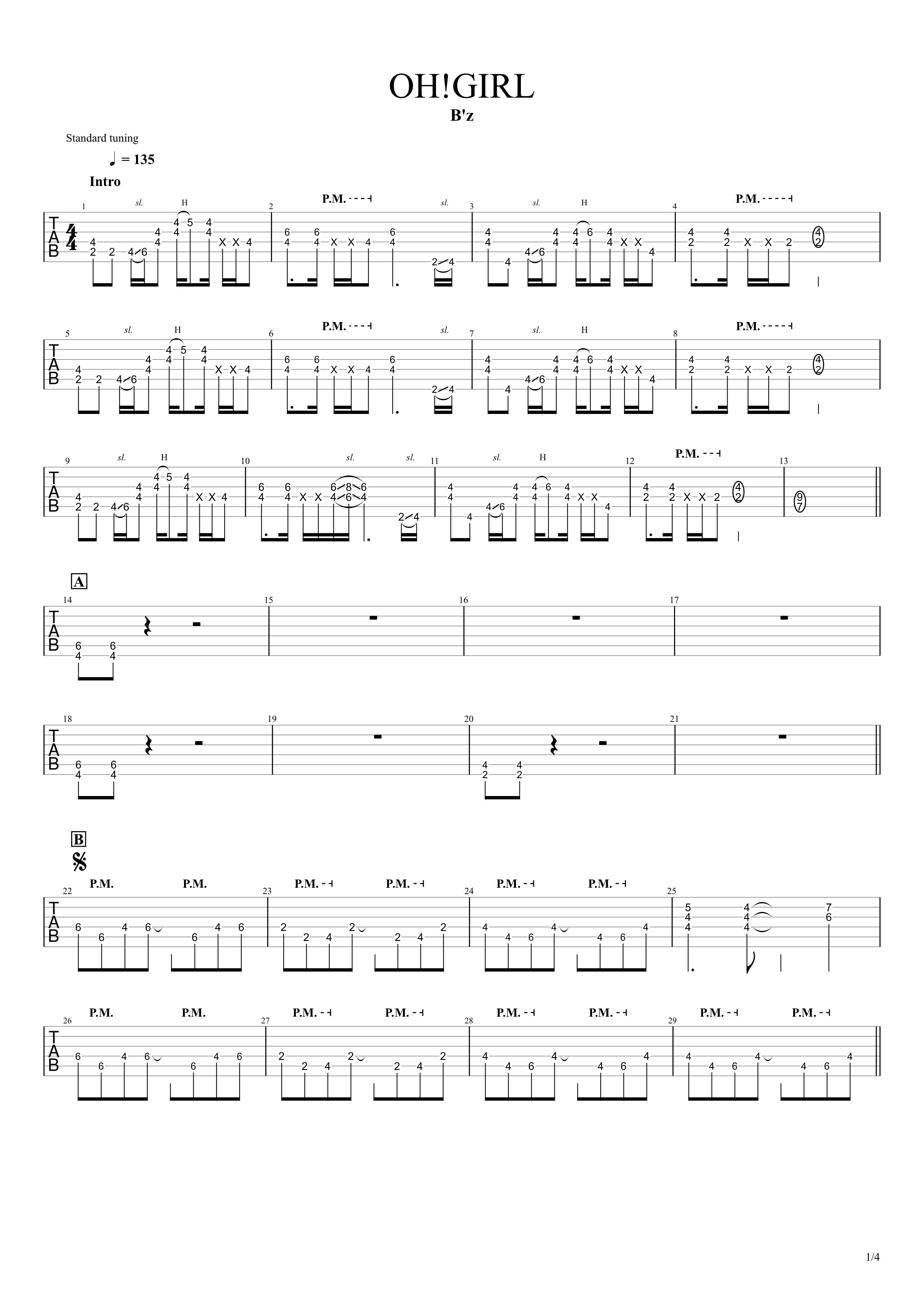OH!GIRL/B'z ギタータブ譜 完コピVer.01