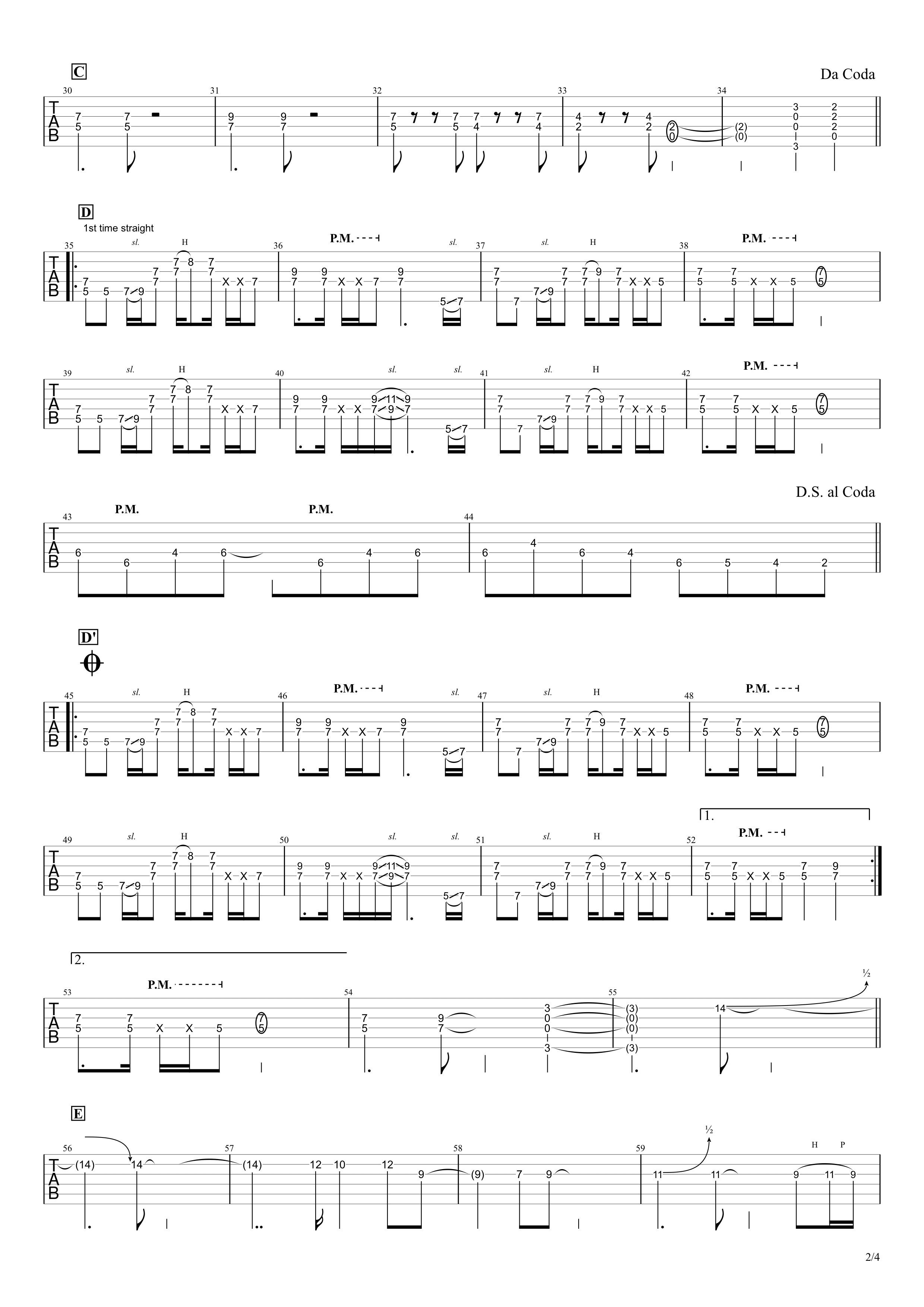 OH!GIRL/B'z ギタータブ譜 完コピVer.02