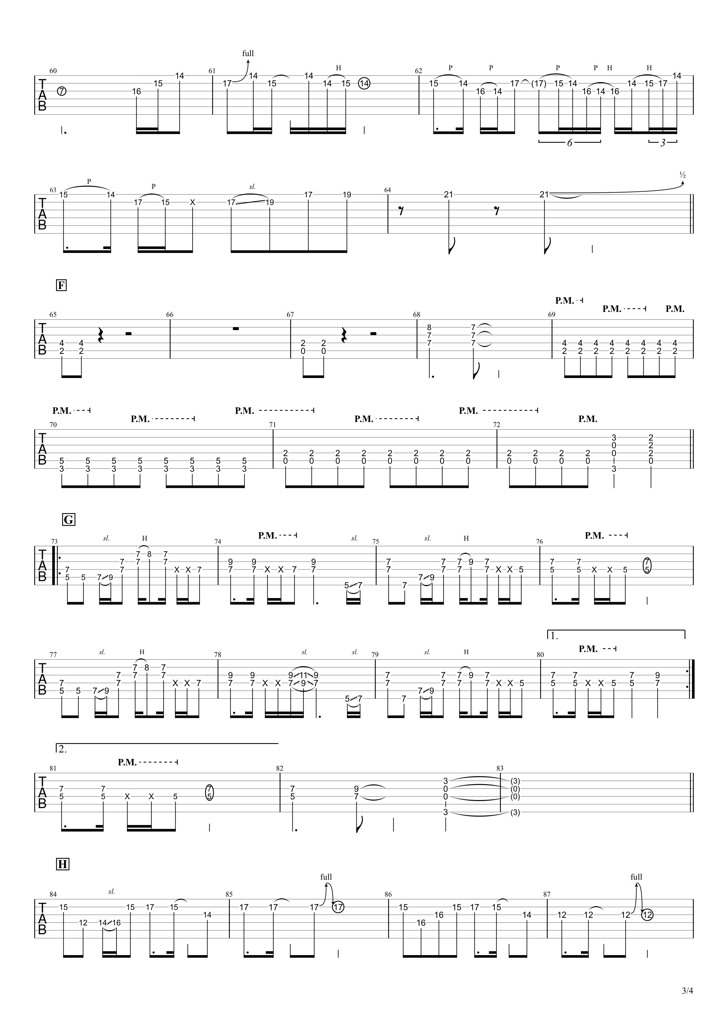 OH!GIRL/B'z ギタータブ譜 完コピVer.03