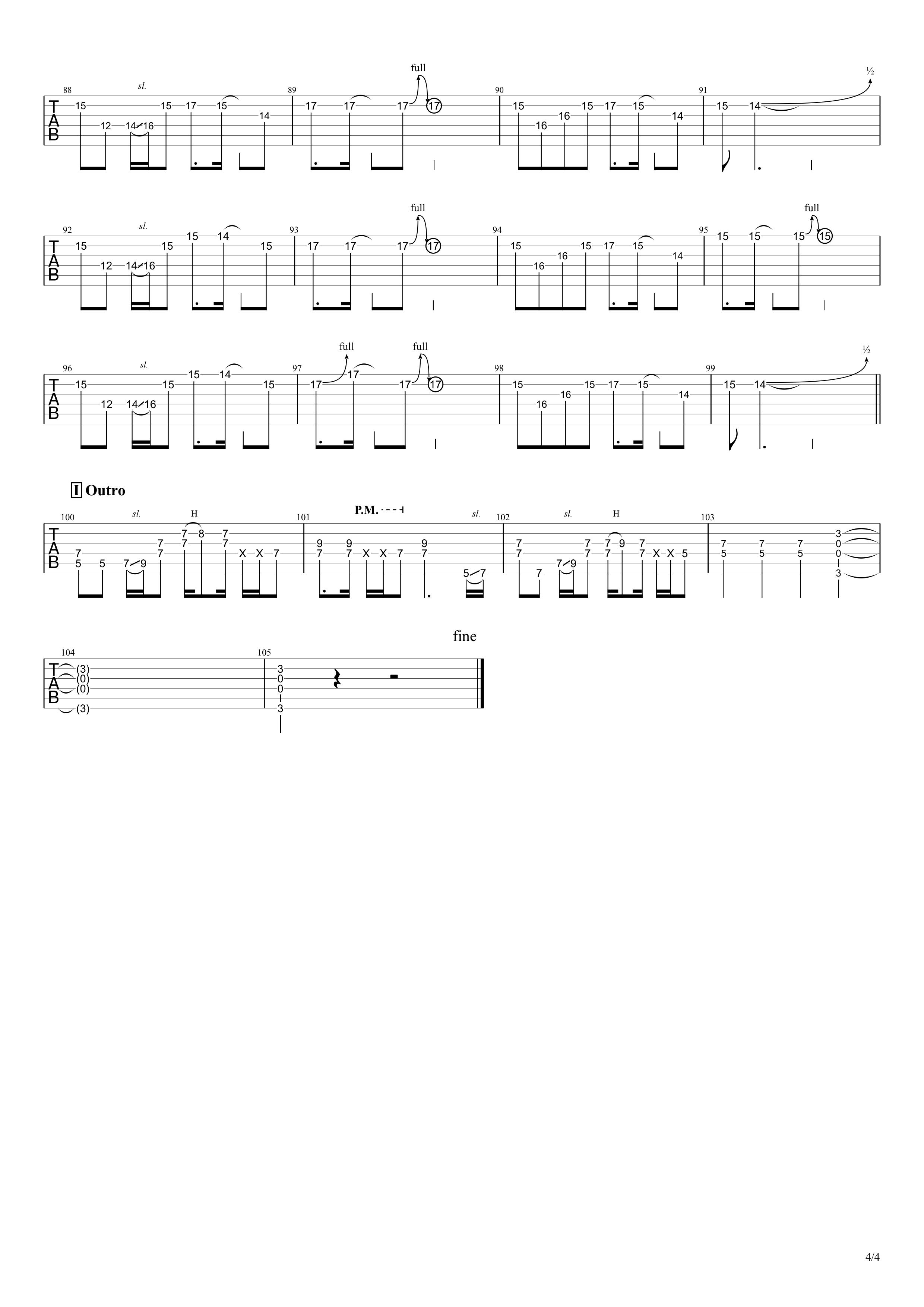 OH!GIRL/B'z ギタータブ譜 完コピVer.04