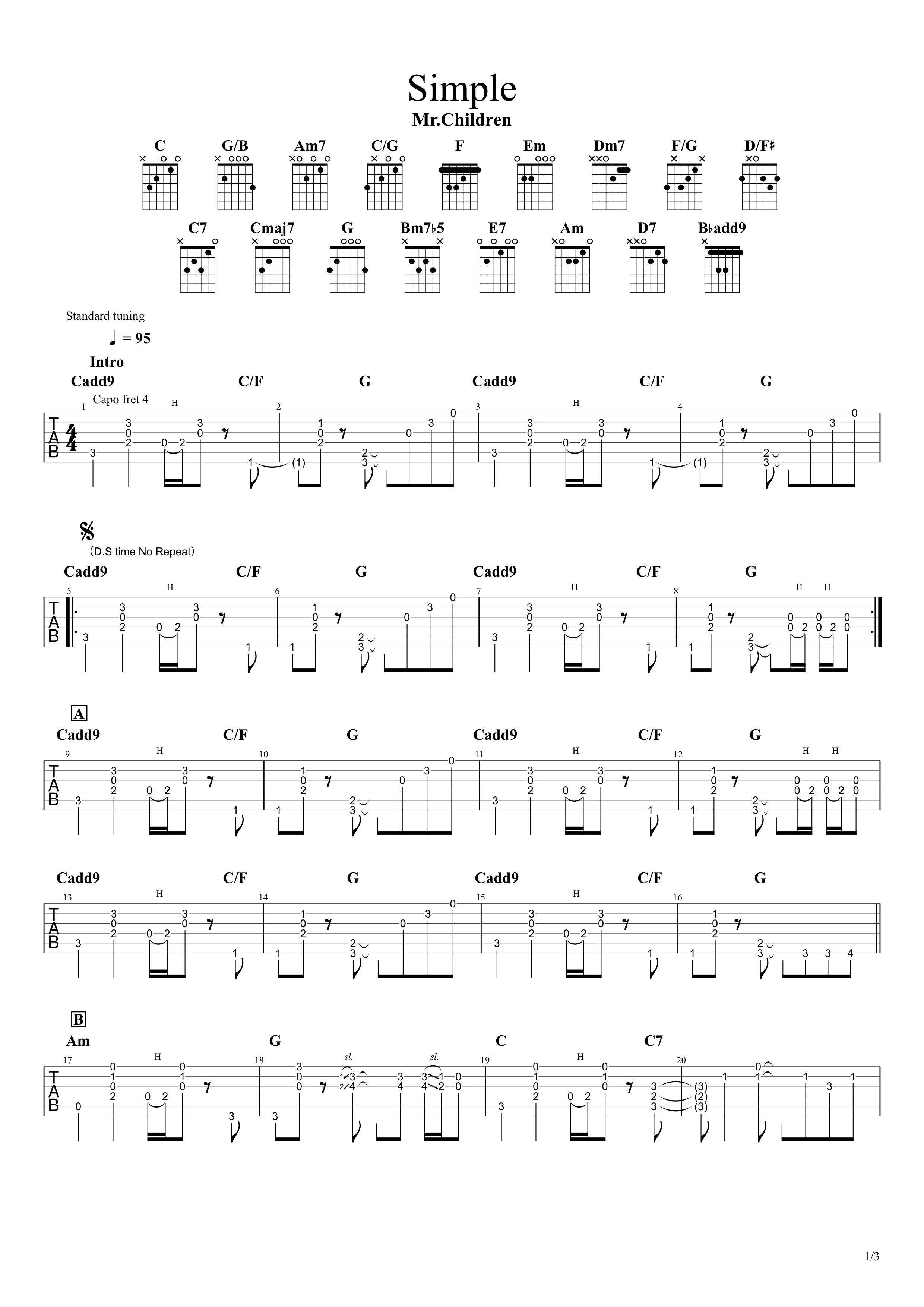 Simple/Mr.Children ギターコード&タブ譜01