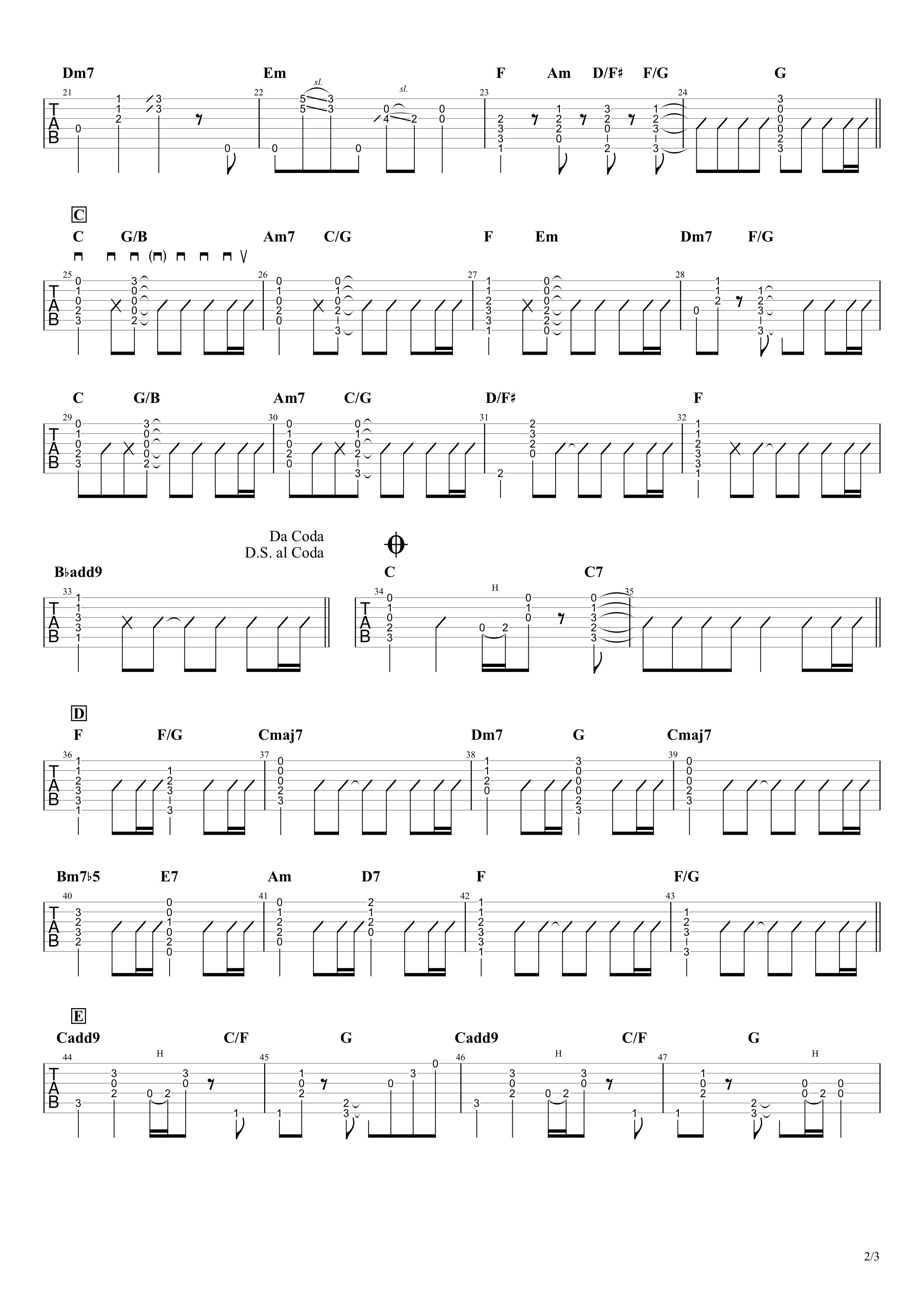 Simple/Mr.Children ギターコード&タブ譜02