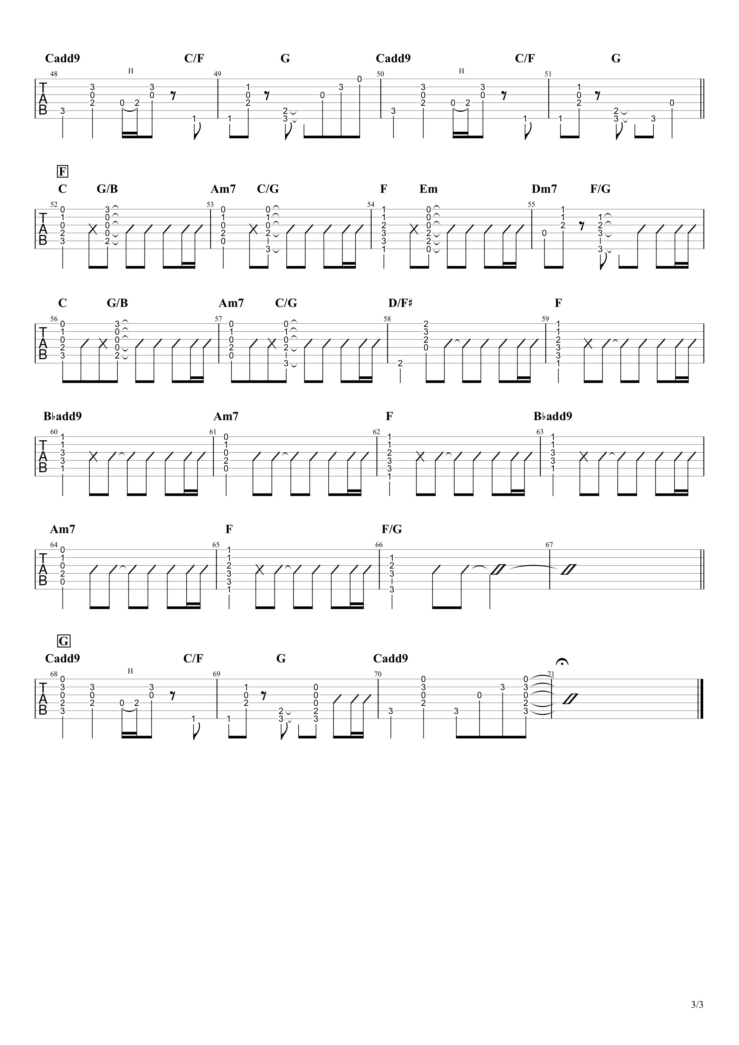 Simple/Mr.Children ギターコード&タブ譜03