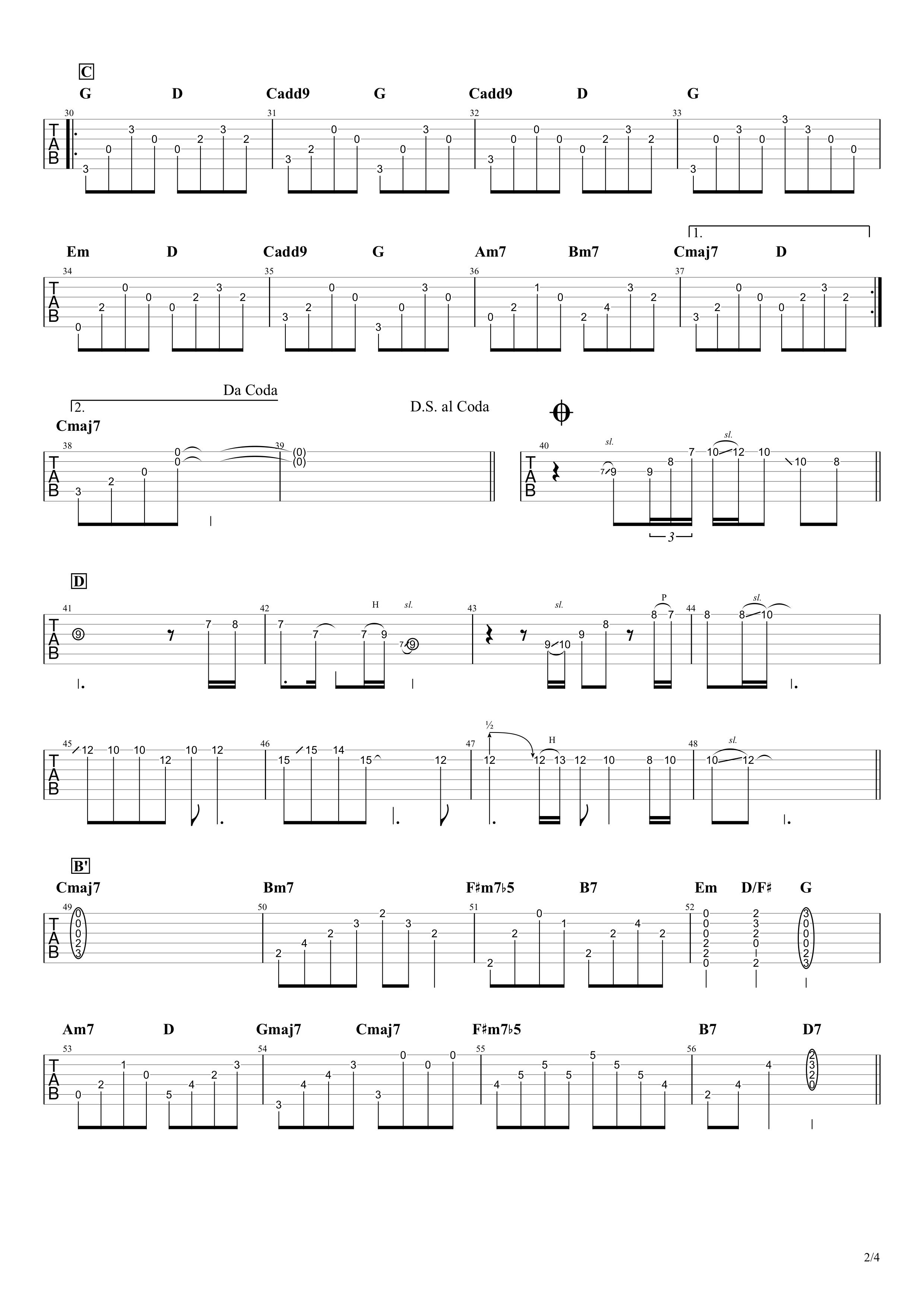 いつかのメリークリスマス/B'z ギタータブ譜 アルペジオ&ギターソロVer.02