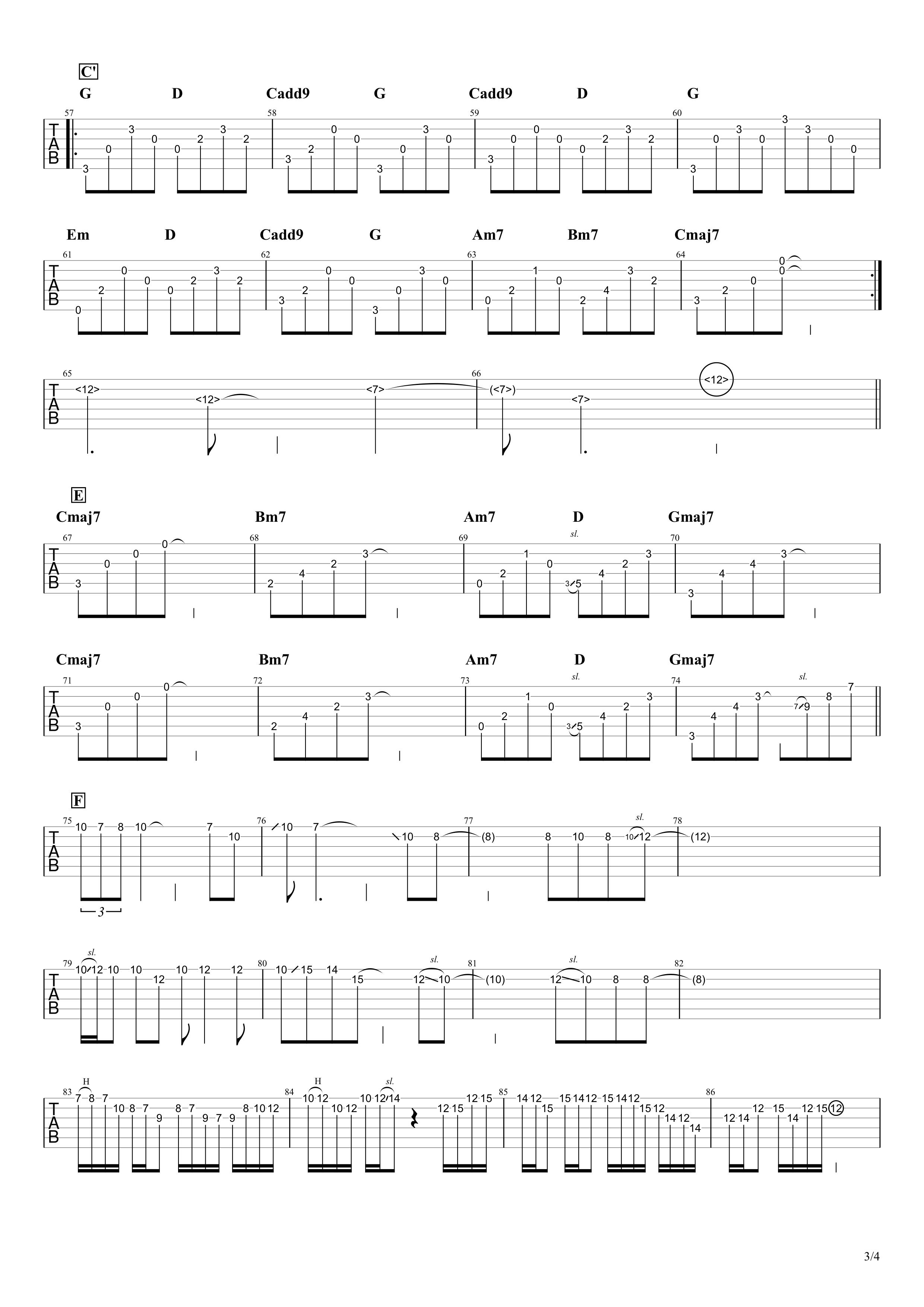 いつかのメリークリスマス/B'z ギタータブ譜 アルペジオ&ギターソロVer.03