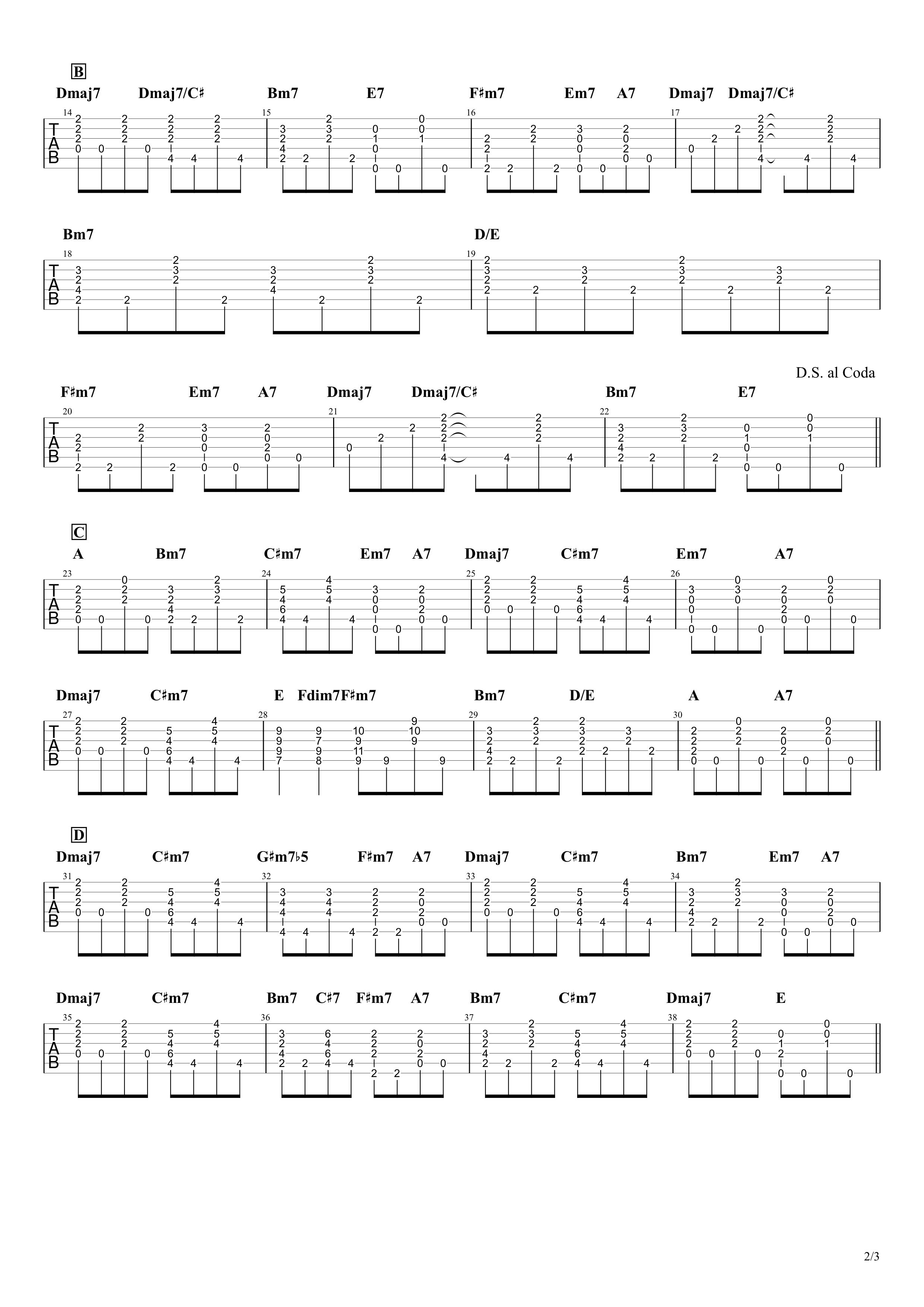 くだらないの中に/星野源 ギターコードタブ譜 アルペジオVer.02