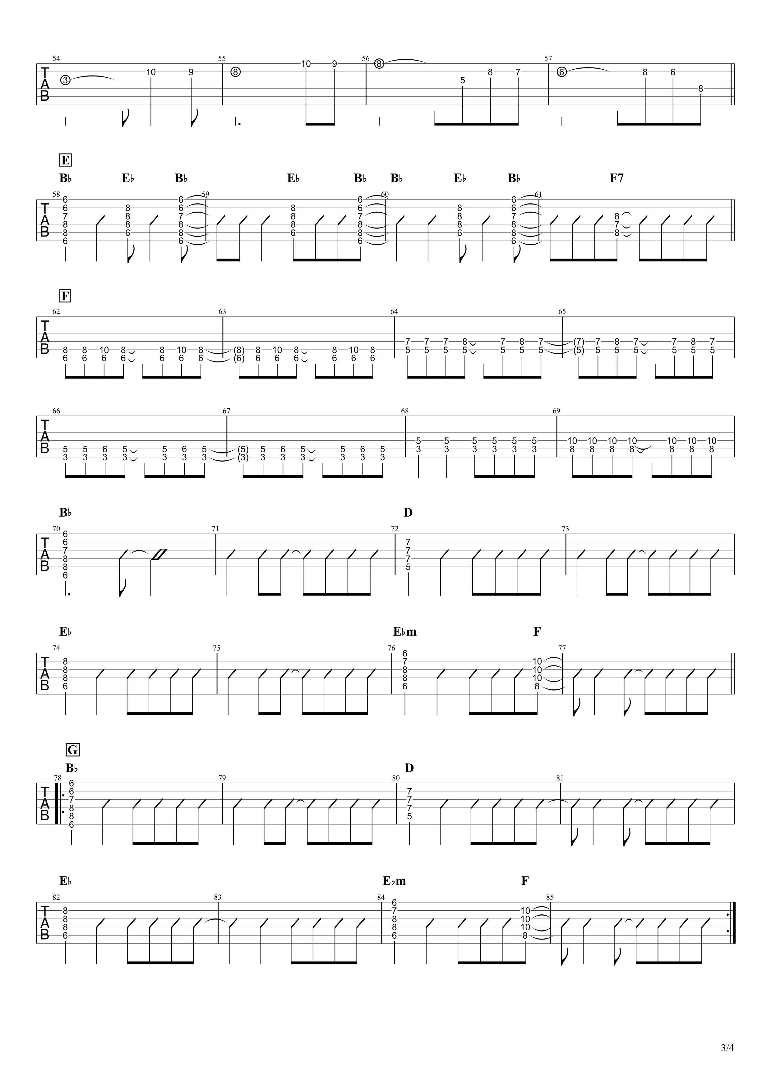 ずっと好きだったんだぜ/斉藤和義 ギタータブ譜 イントロ&リフ&ソロありVer.03
