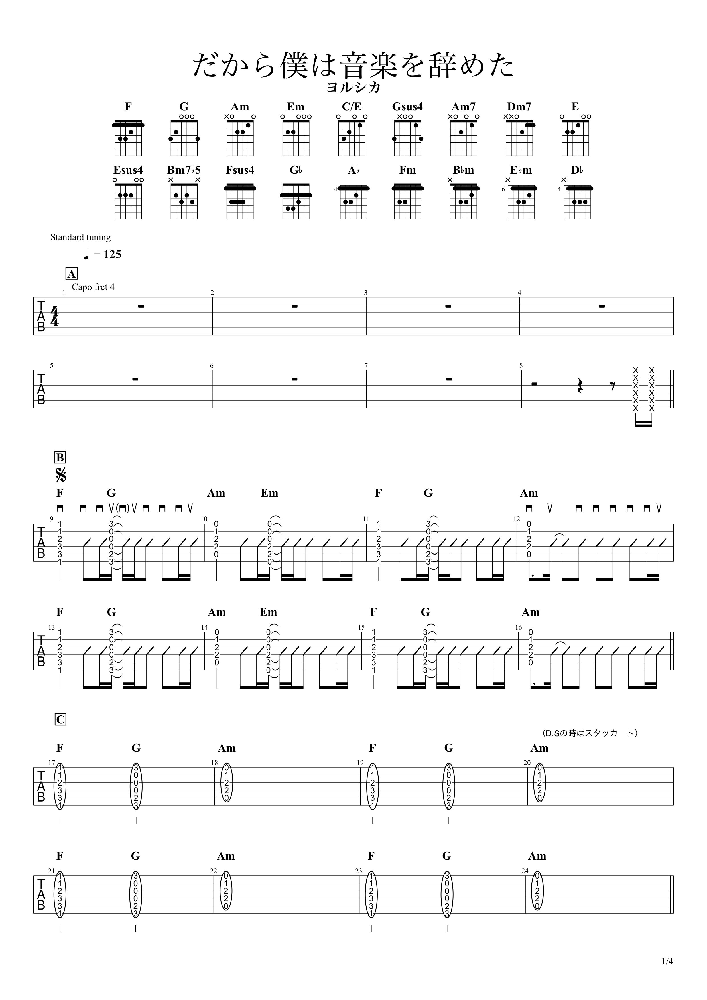 だから僕は音楽を辞めた/ヨルシカ ギタータブ譜 コードストロークで弾くVer.01