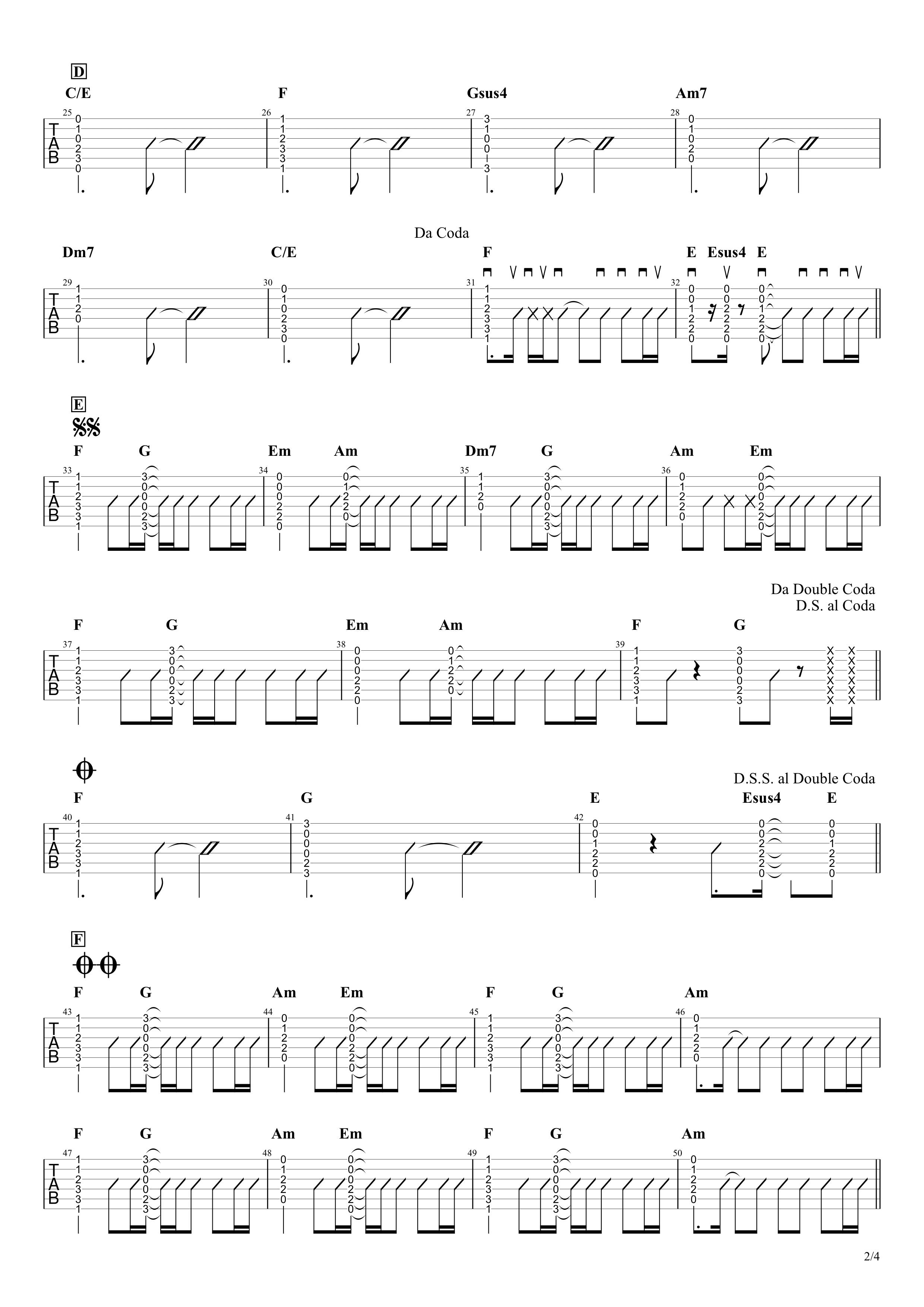 だから僕は音楽を辞めた/ヨルシカ ギタータブ譜 コードストロークで弾くVer.02