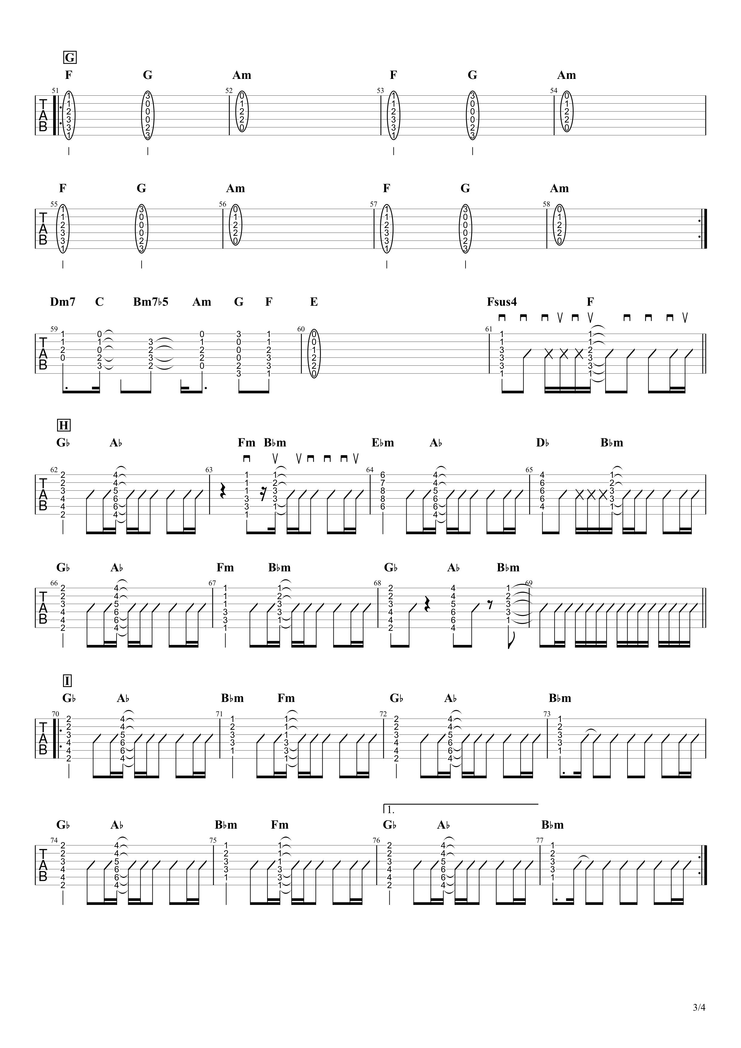 だから僕は音楽を辞めた/ヨルシカ ギタータブ譜 コードストロークで弾くVer.03