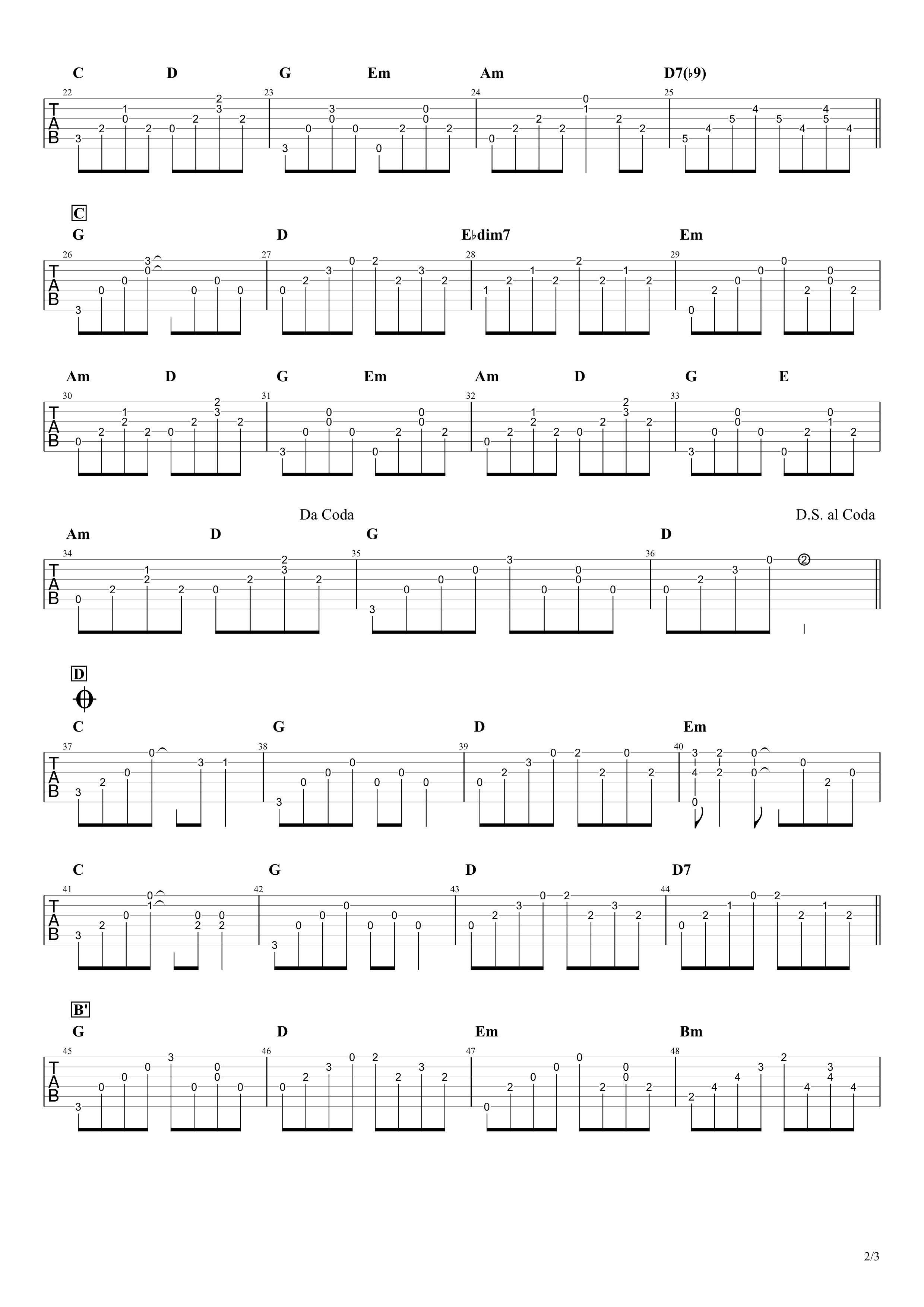 ウェディング・ソング/斉藤和義 ギタータブ譜 アルペジオほぼ完コピVer.02