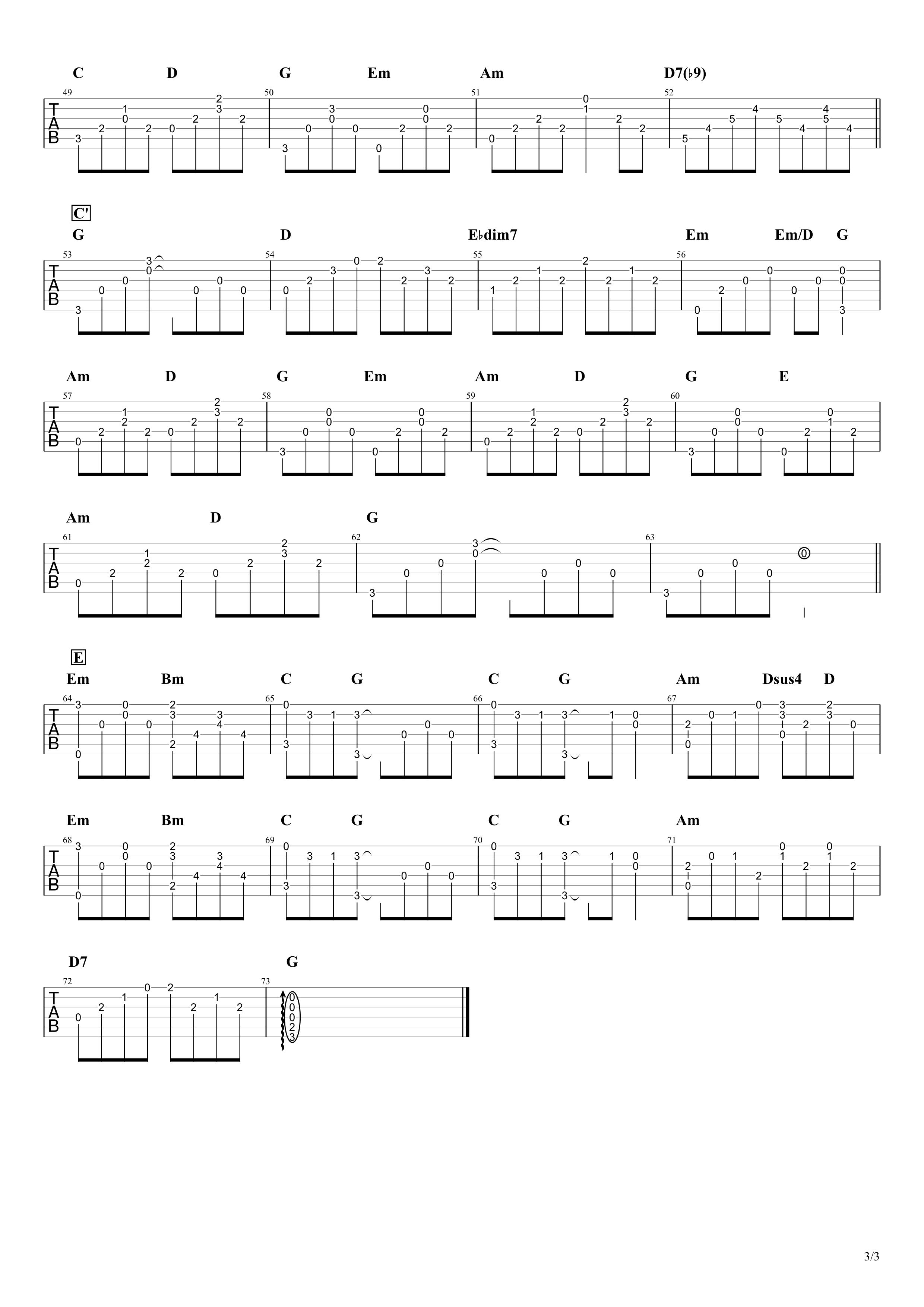 ウェディング・ソング/斉藤和義 ギタータブ譜 アルペジオほぼ完コピVer.03