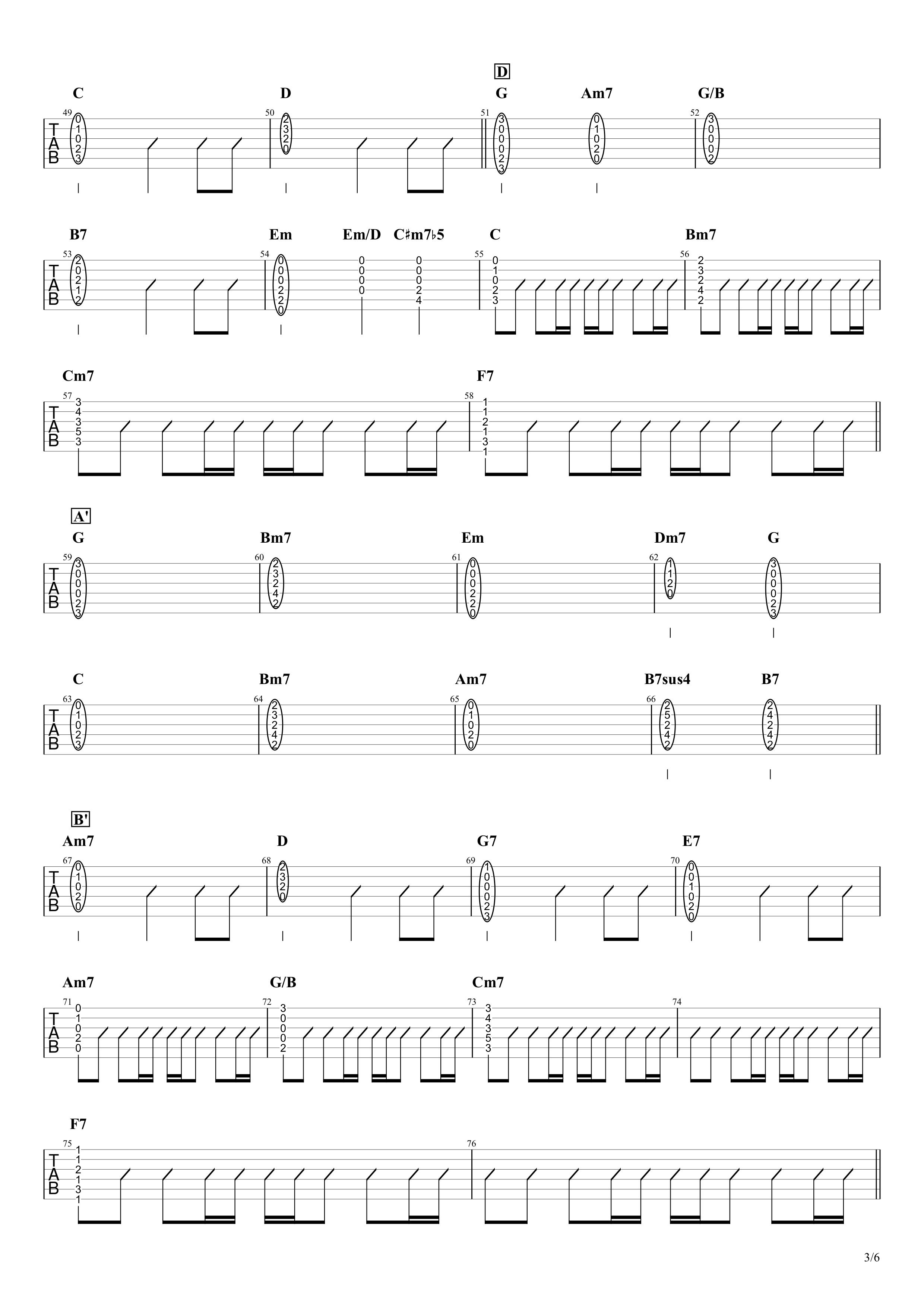 パラボラ/Official髭男dism ギタータブ譜 カポありコードストロークVer.03