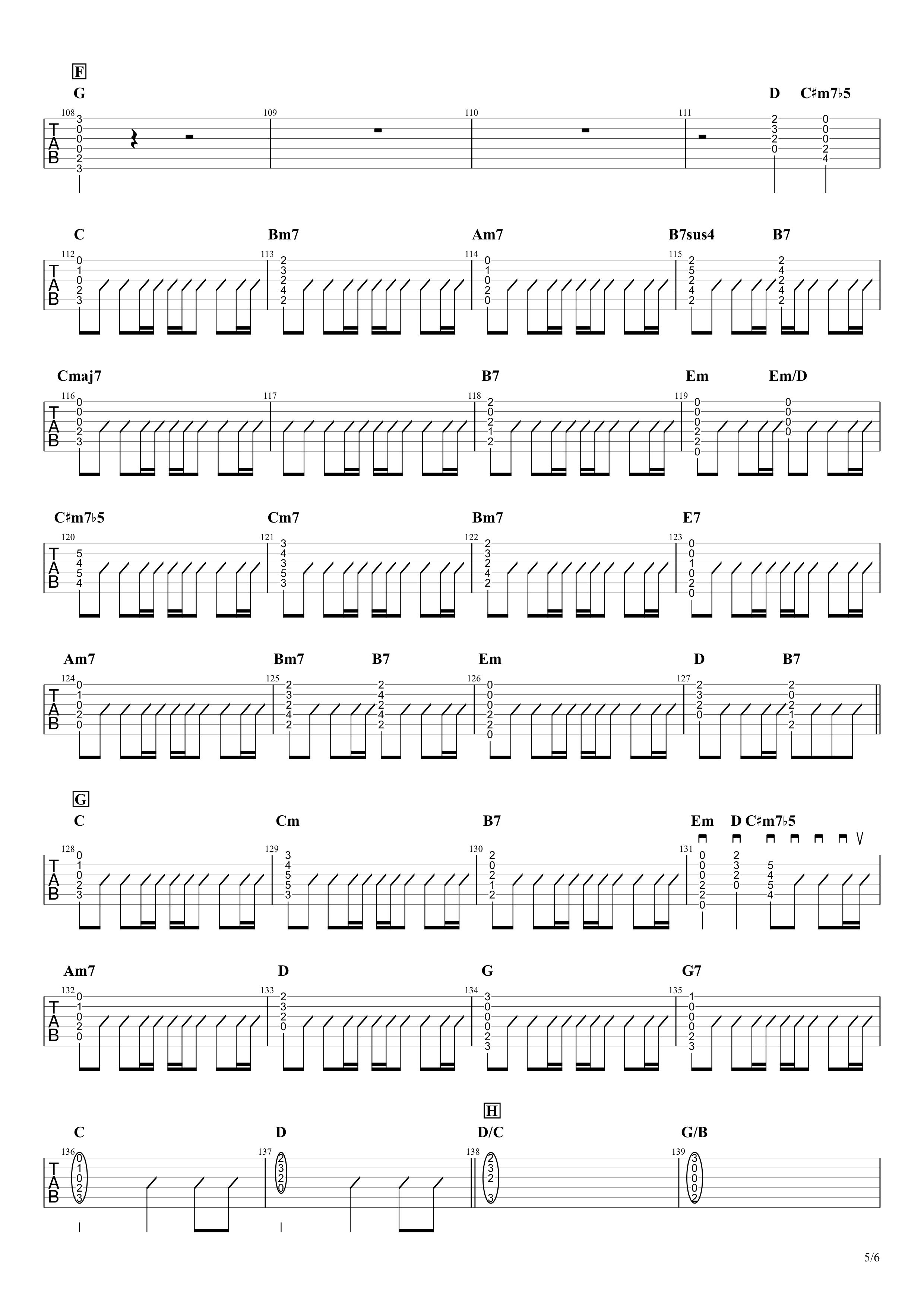 パラボラ/Official髭男dism ギタータブ譜 カポありコードストロークVer.05