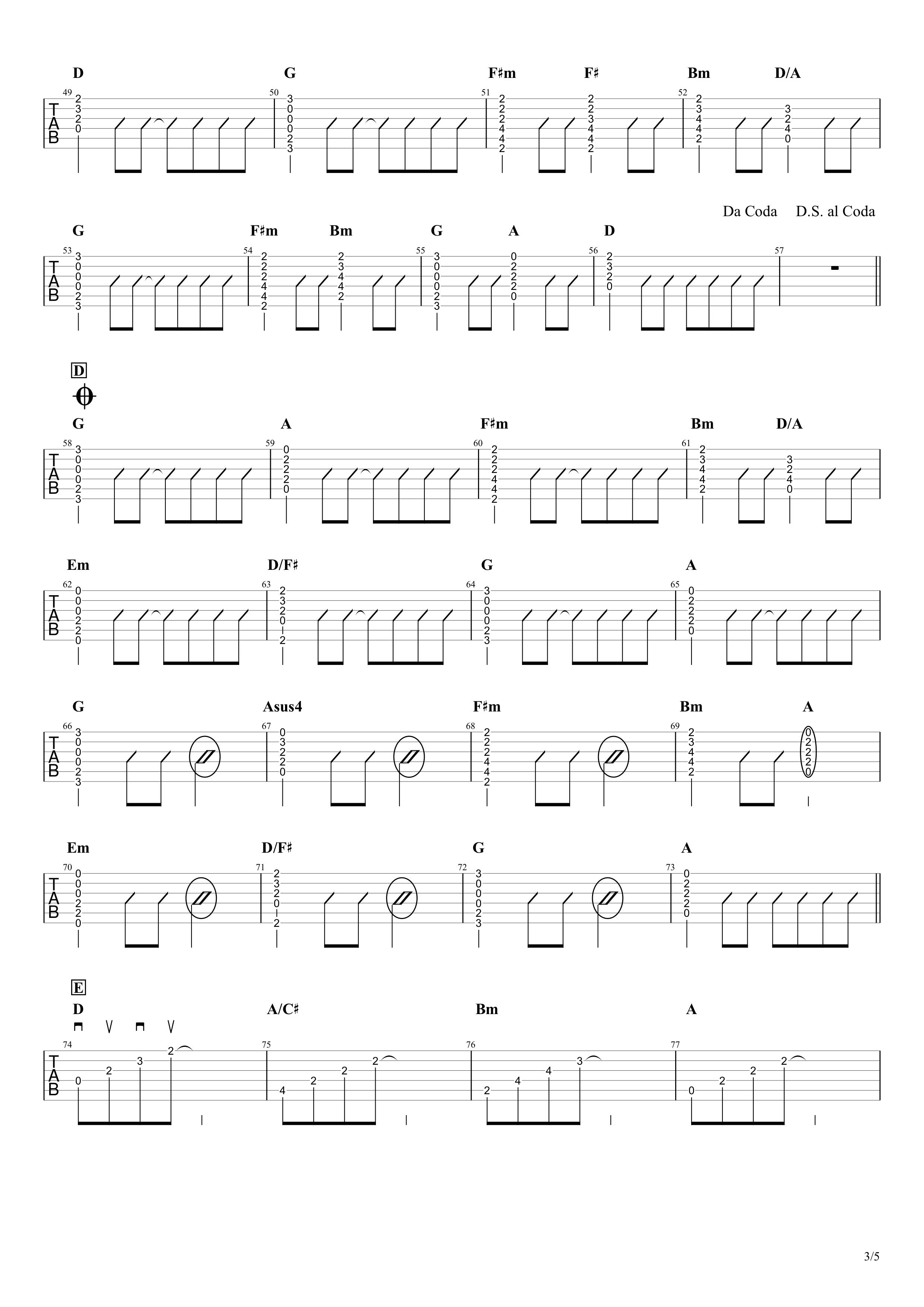 ハローカゲロウ/GReeeeN ギタータブ譜 カポ途中で変えるちょい簡単コードVer.03