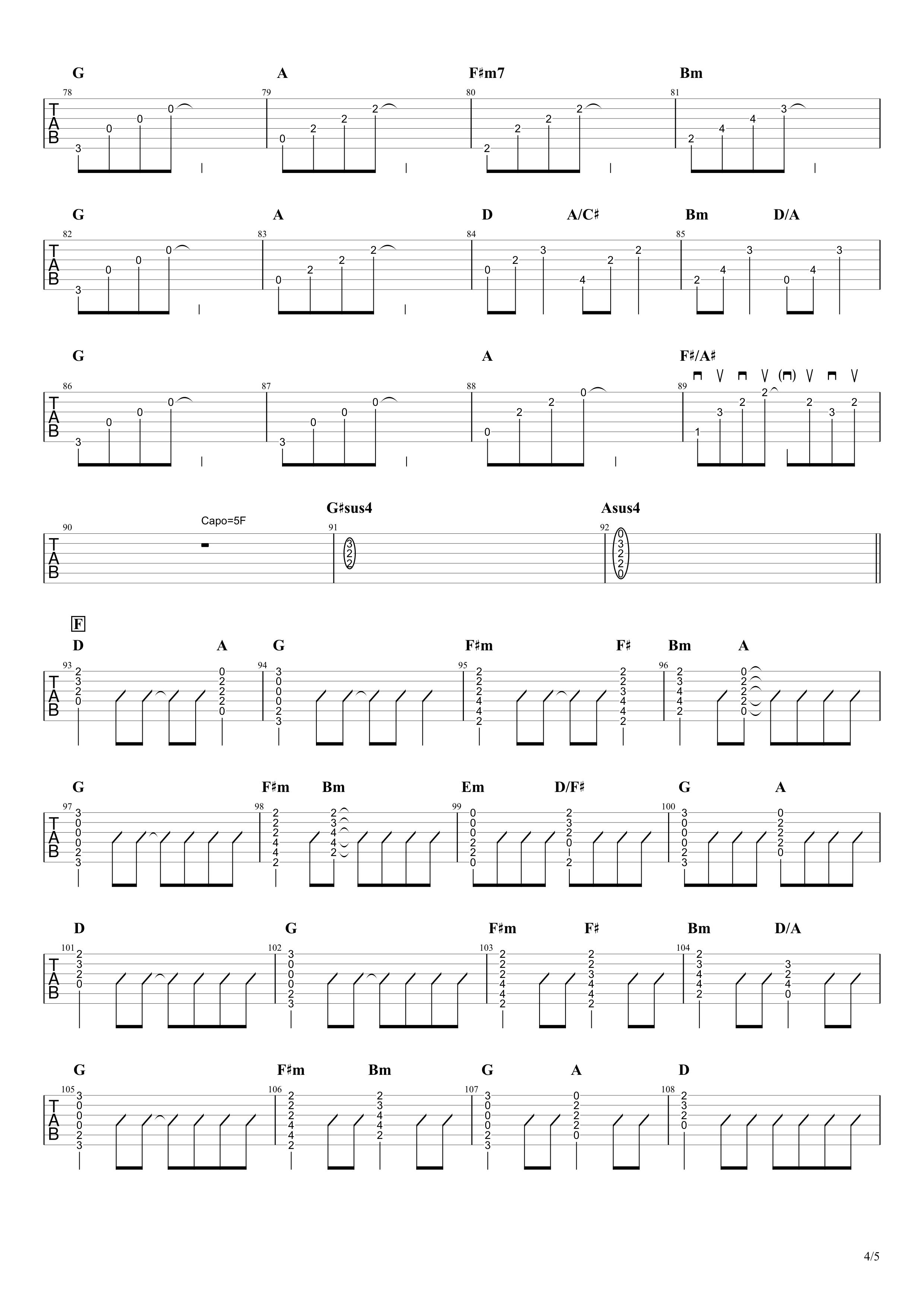 ハローカゲロウ/GReeeeN ギタータブ譜 カポ途中で変えるちょい簡単コードVer.04
