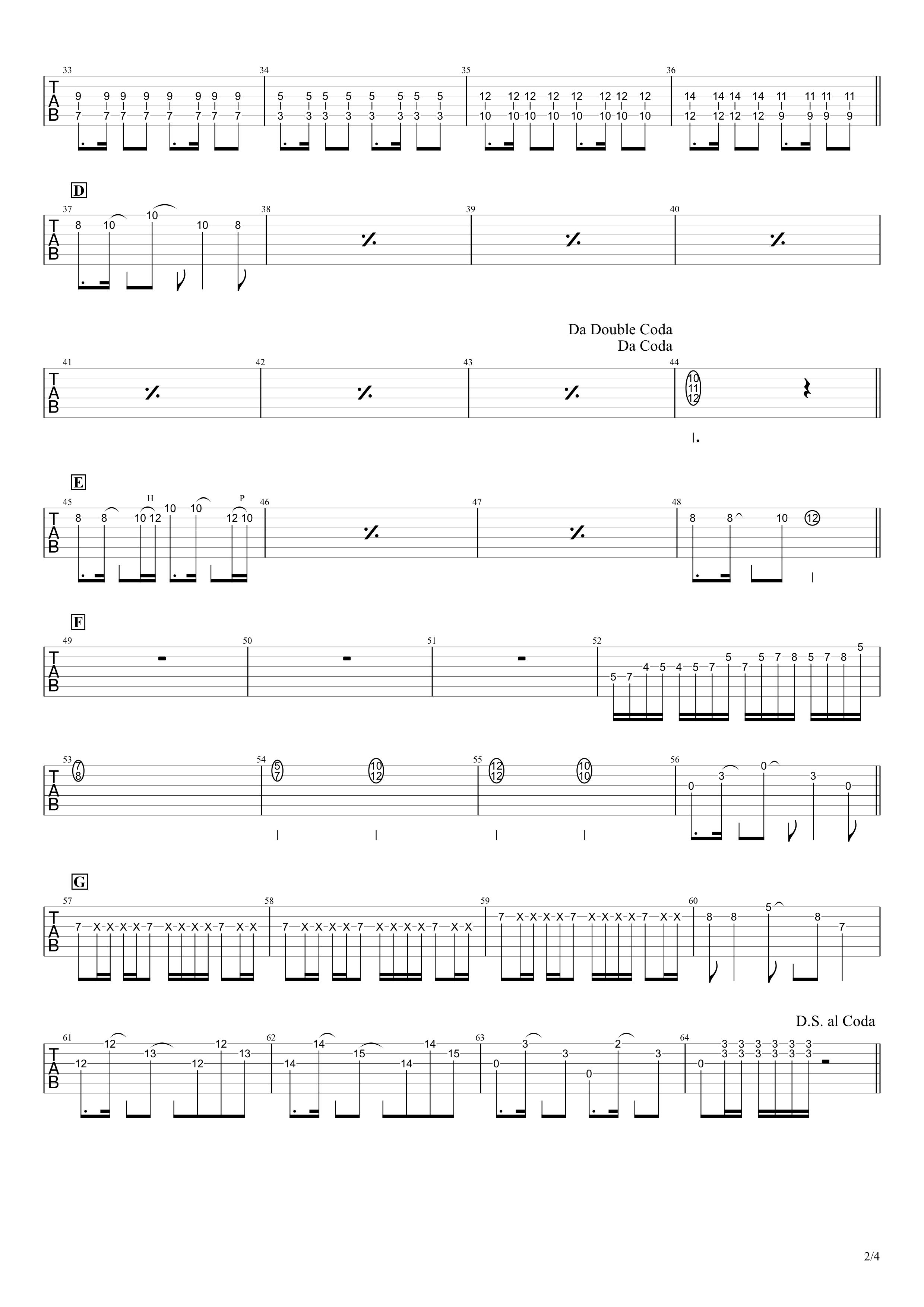 ワタリドリ/Alexandros ギタータブ譜 リードギターほぼ完コピVer.02