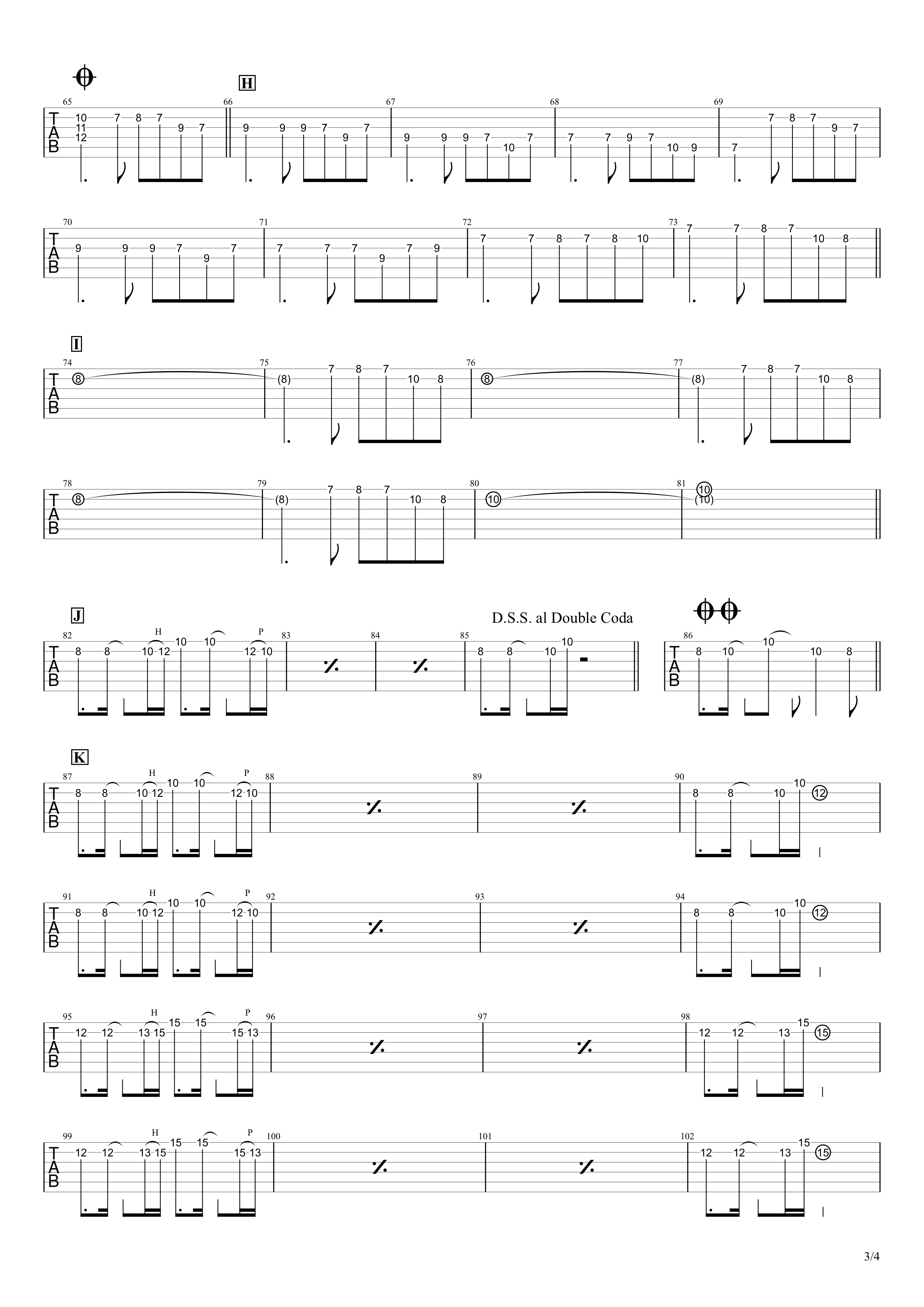 ワタリドリ/Alexandros ギタータブ譜 リードギターほぼ完コピVer.03