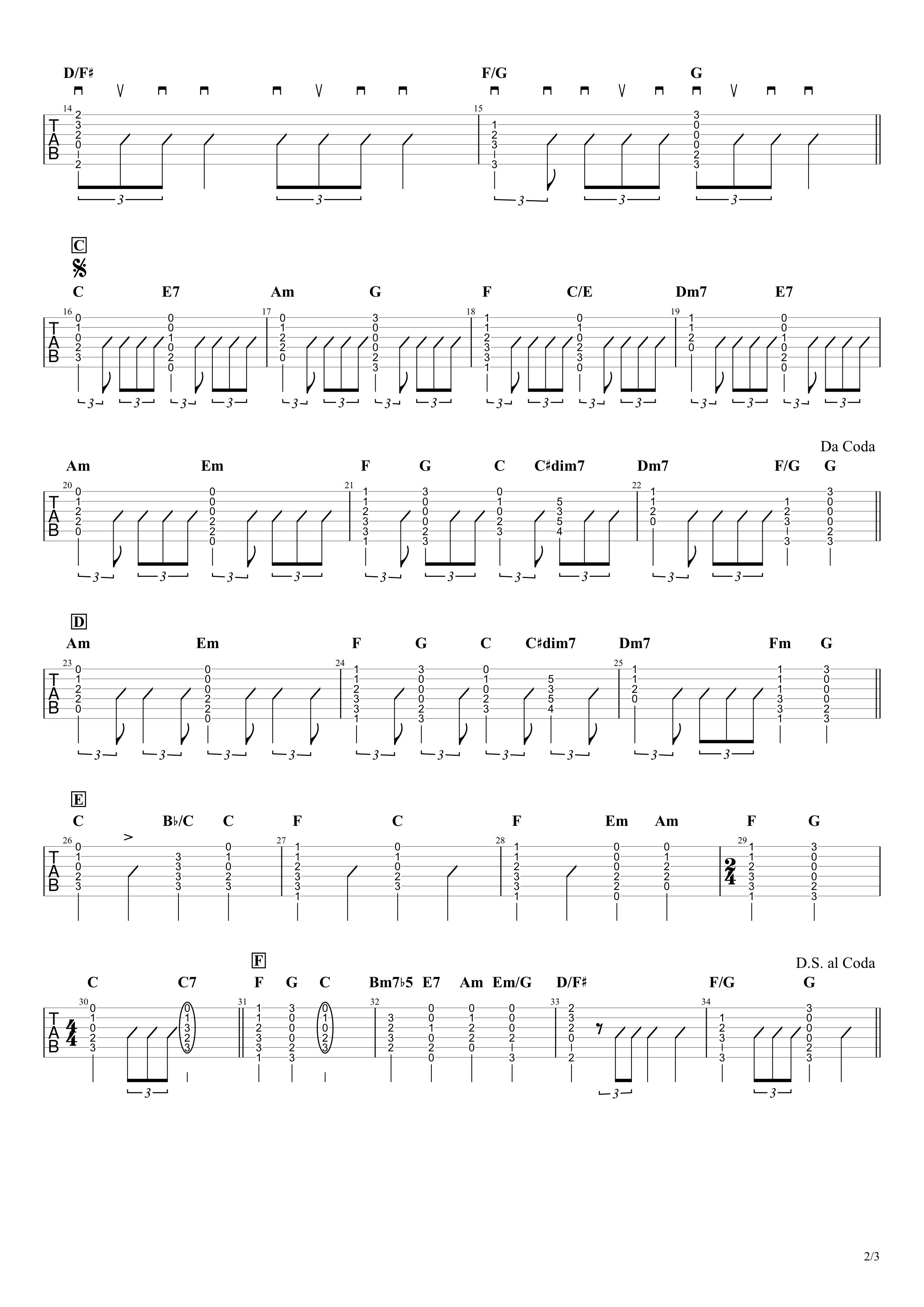 星影のエール/GReeeeN ギタータブ譜 簡単コードVer.02
