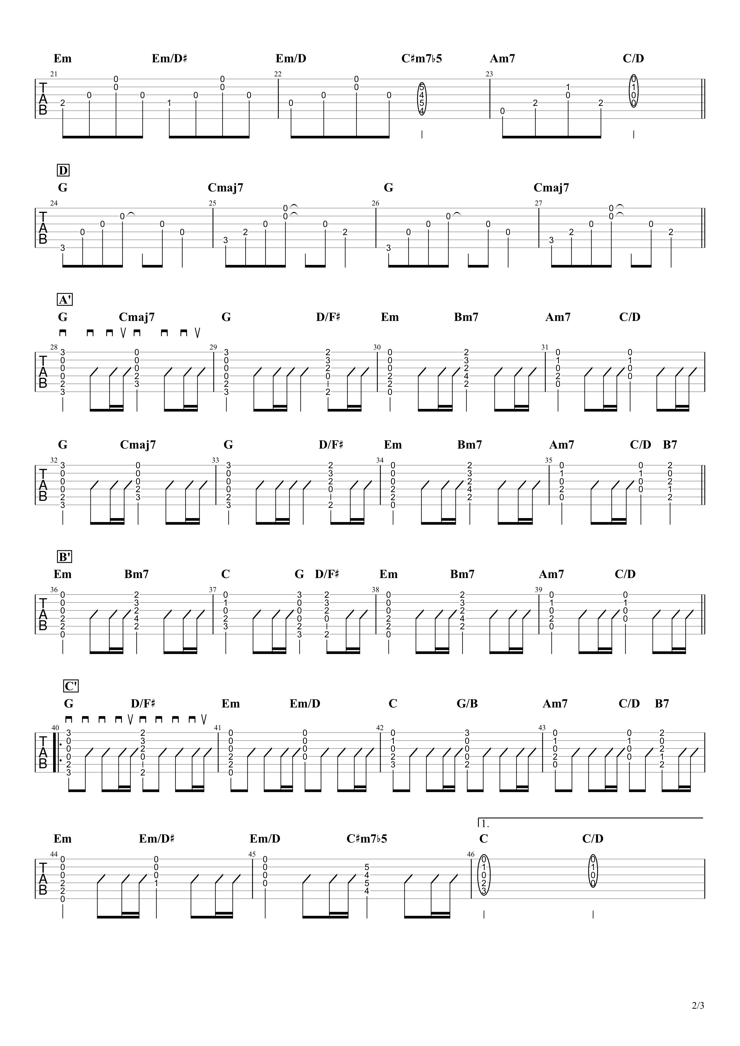 糸/中島みゆき ギタータブ譜 アルペジオ&ストロークVer.02