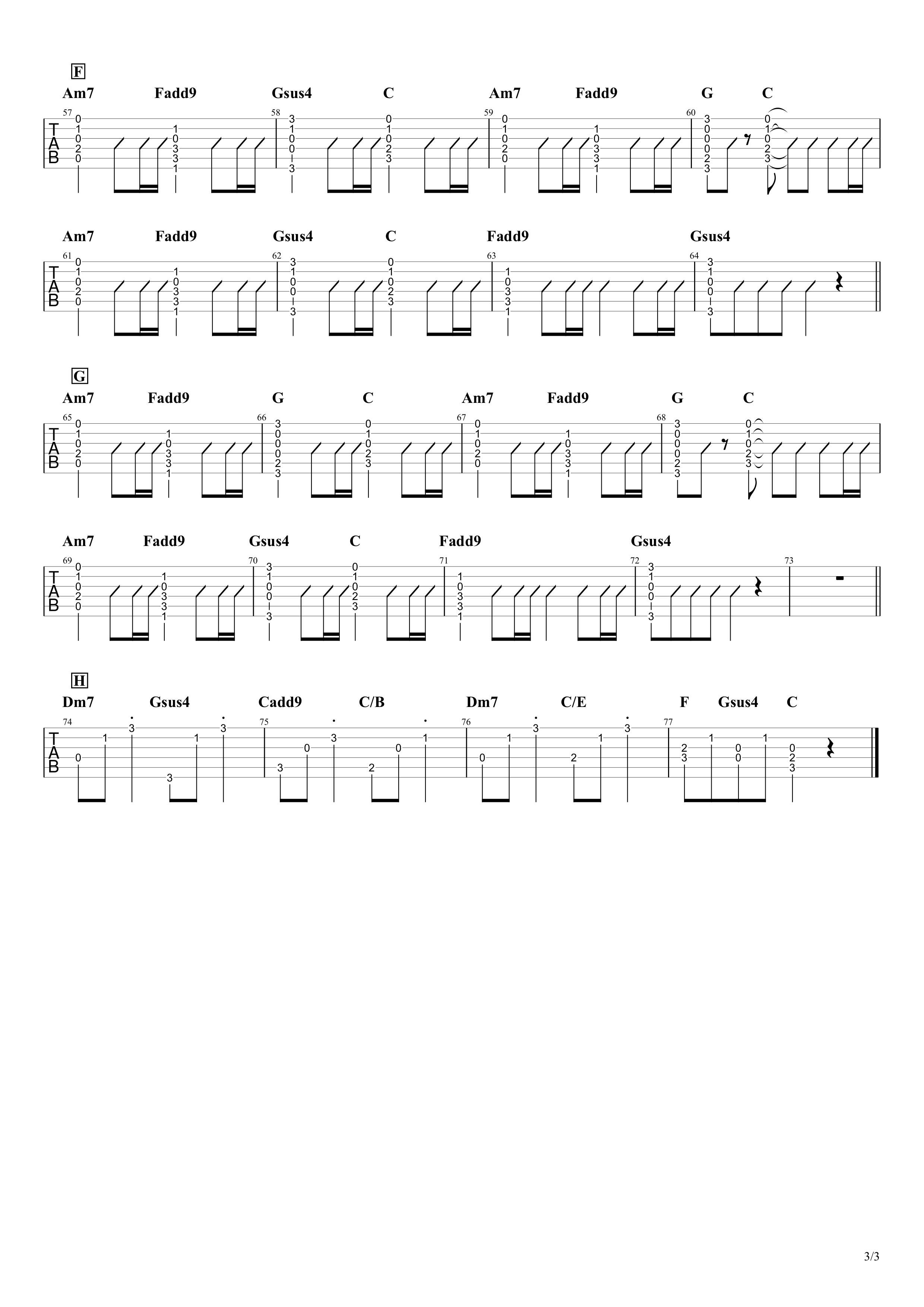 花に亡霊/ヨルシカ ギタータブ譜 コードストローク&アルペジオVer.03