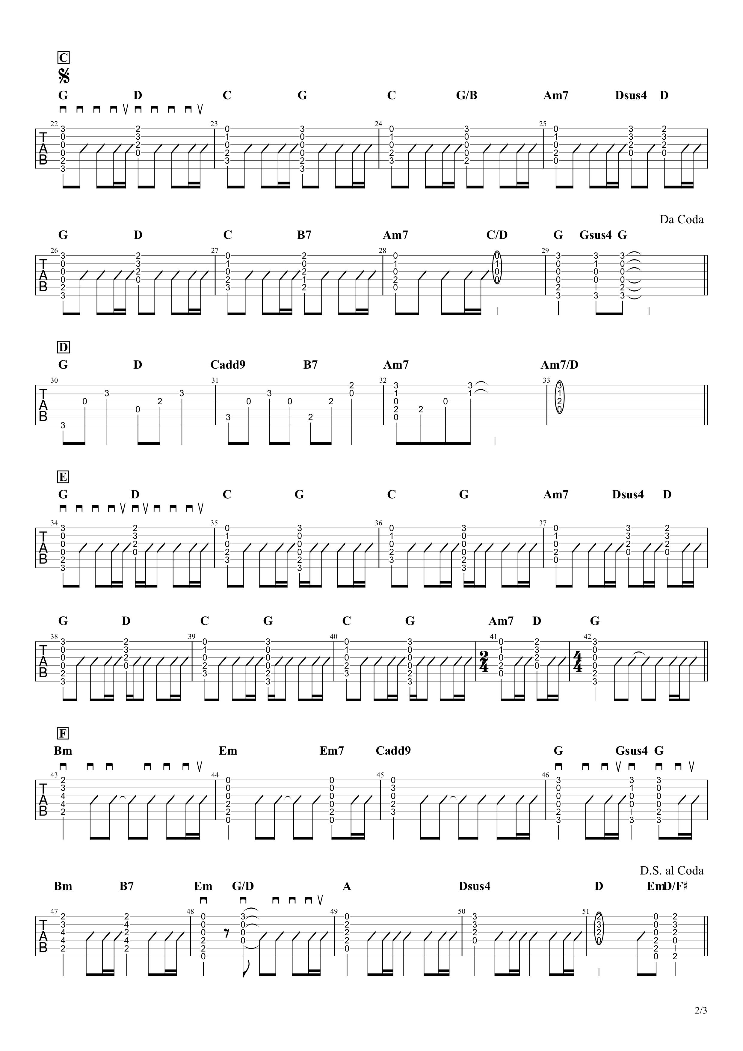 裸の心/あいみょん ギターコード&タブ譜 ストロークとアルペジオVer.02