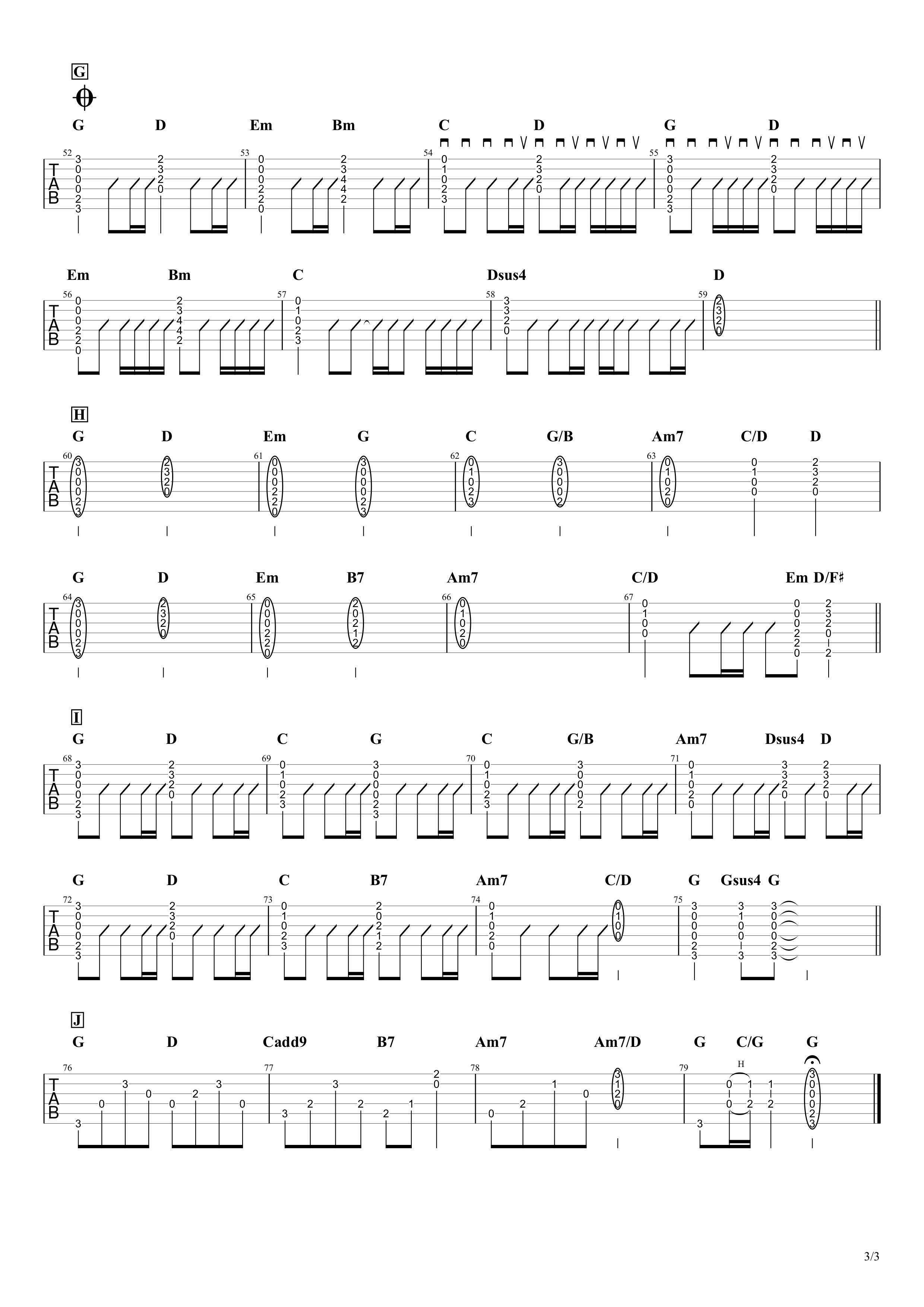 裸の心/あいみょん ギターコード&タブ譜 ストロークとアルペジオVer.03