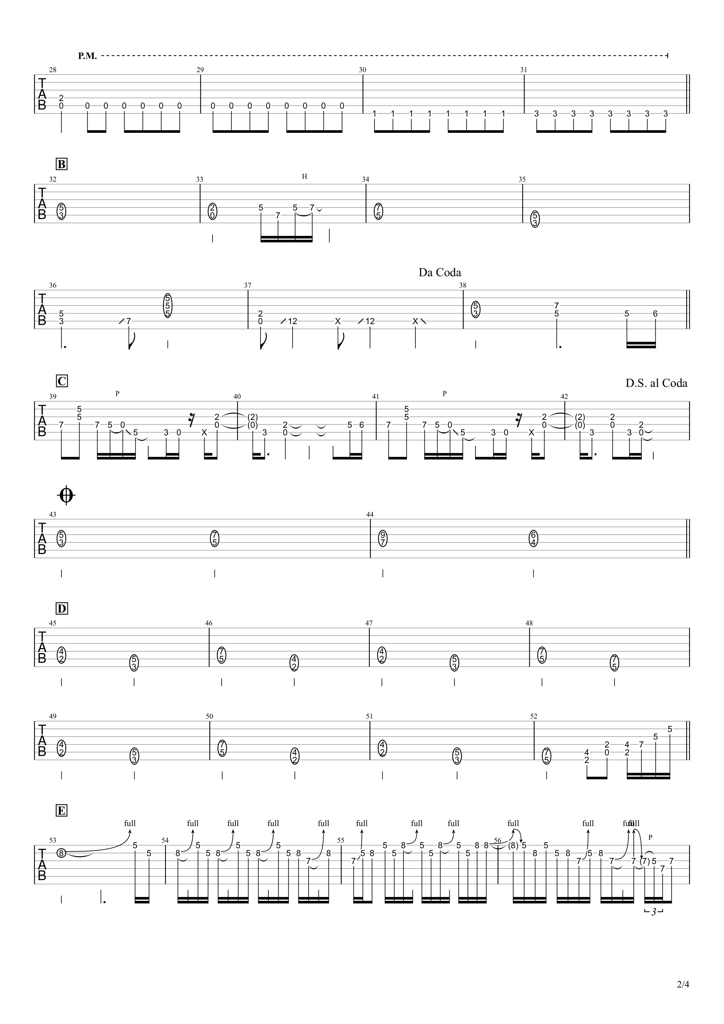 ZERO/B'z ギタータブ譜 リードギターほぼ完コピVer.02