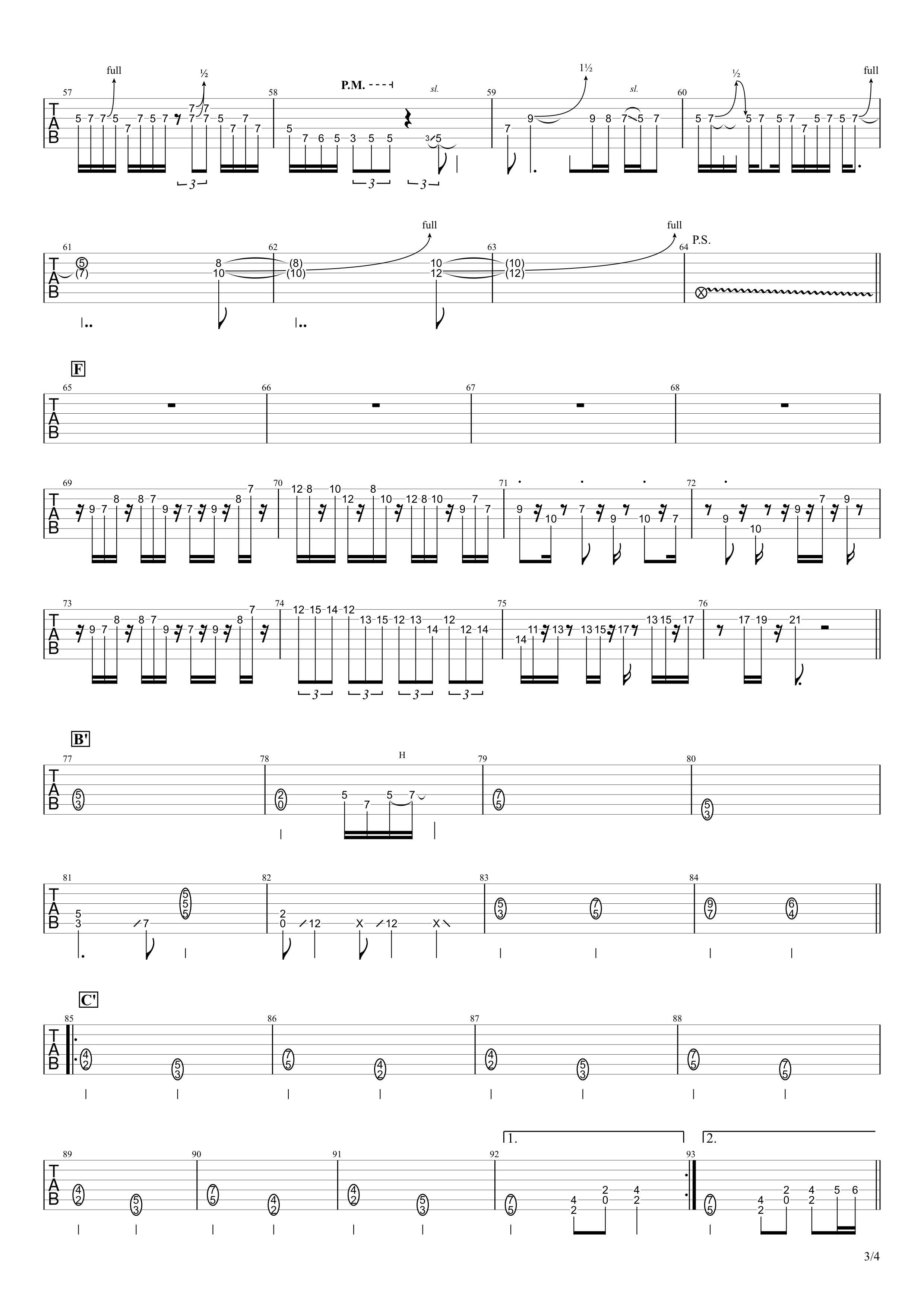 ZERO/B'z ギタータブ譜 リードギターほぼ完コピVer.03