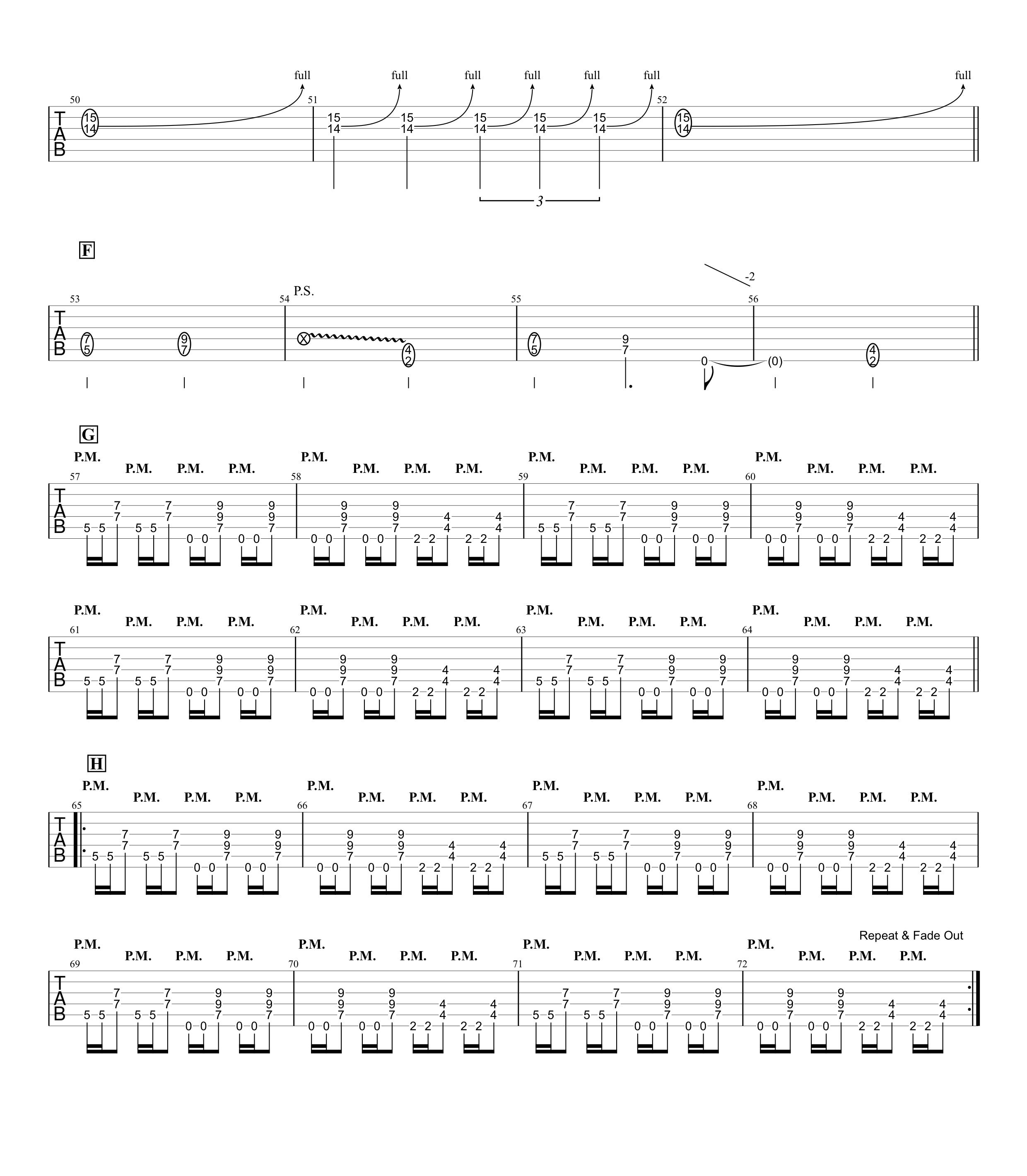 ねがい/B'z ギタータブ譜 カッティング・ギターソロほぼ完コピVer.03