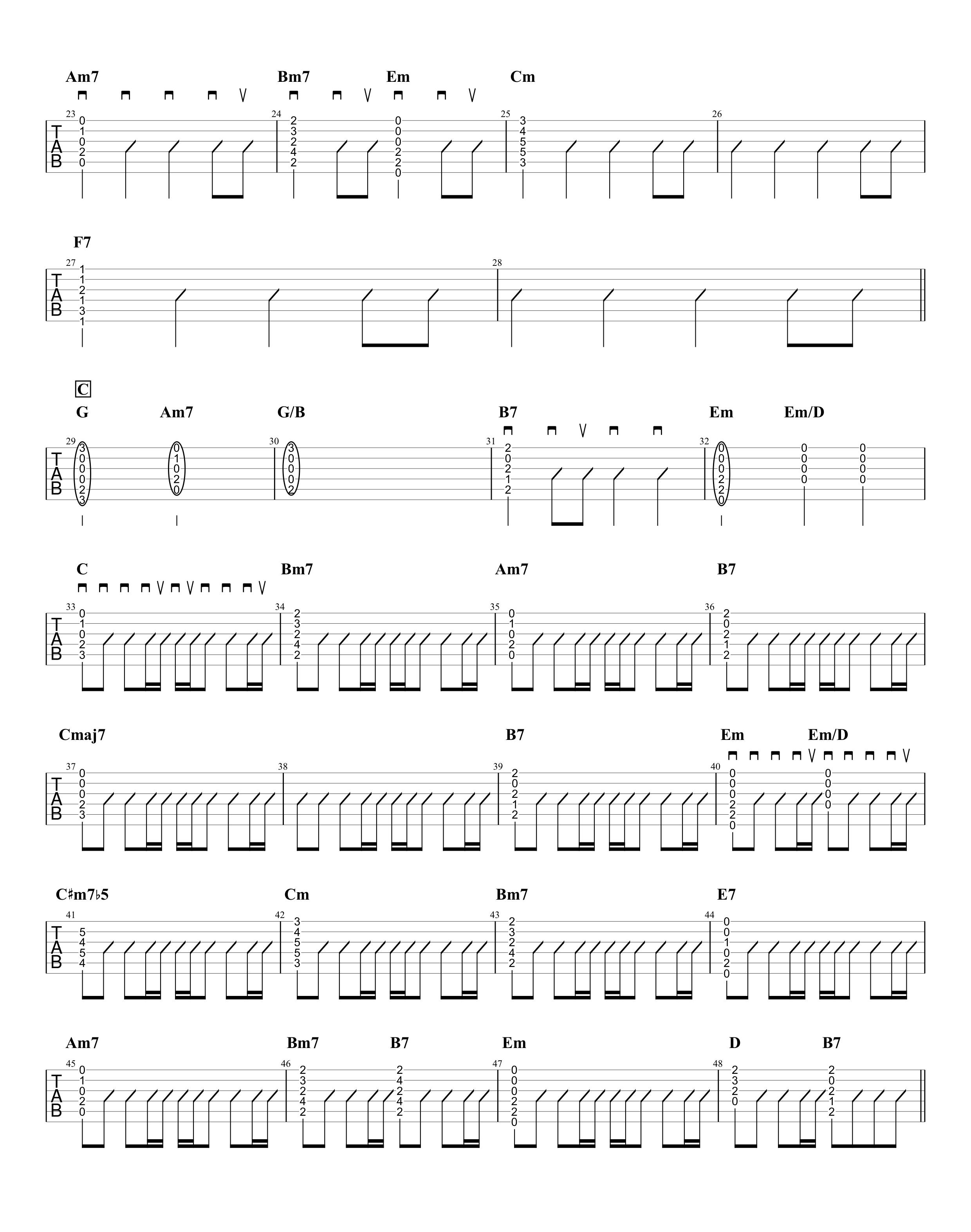 パラボラ/Official髭男dism ギタータブ譜 カポありコードストロークVer.02