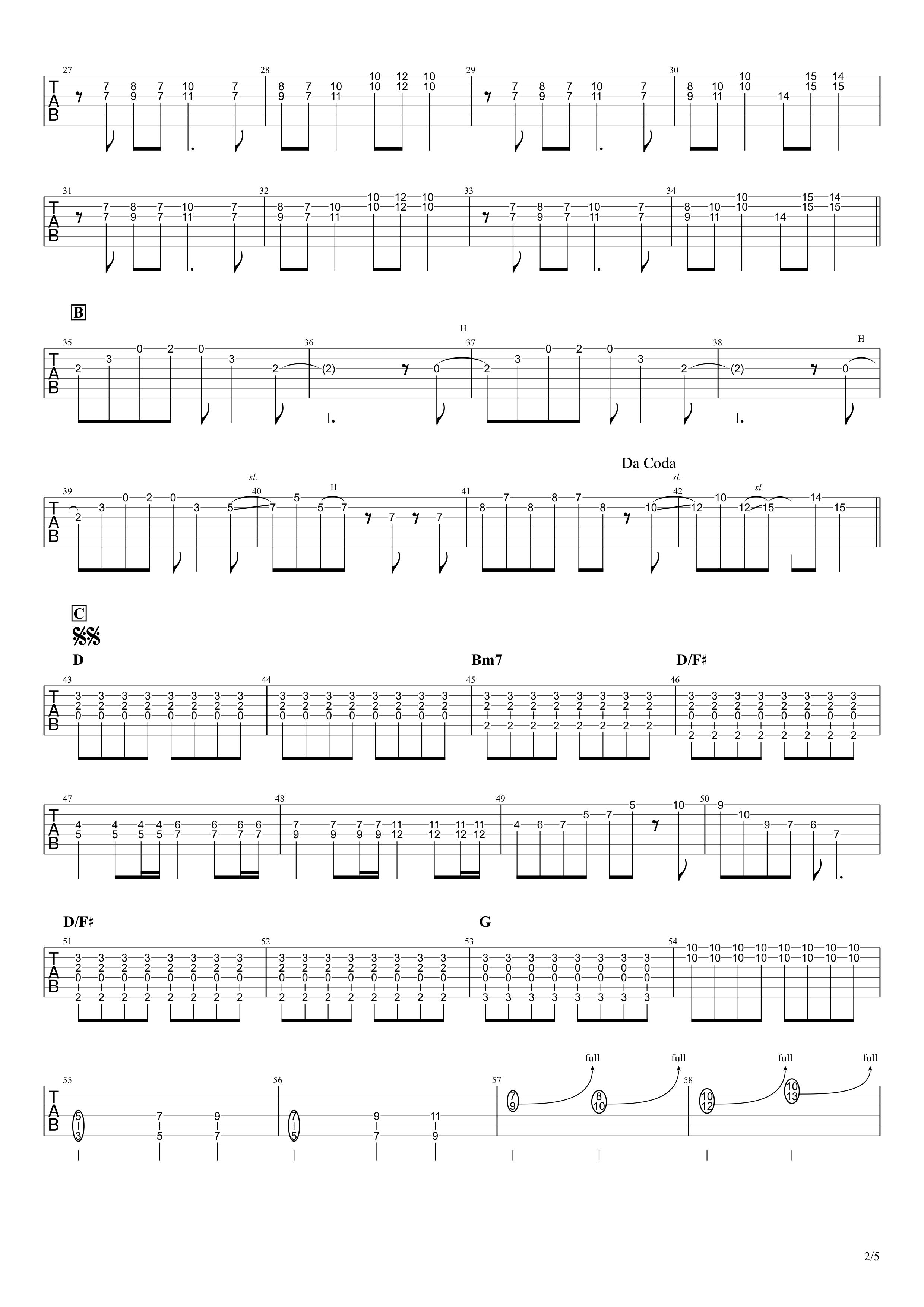 天体観測/BUMP OF CHICKEN ギタータブ譜 ほぼ完コピVer.02