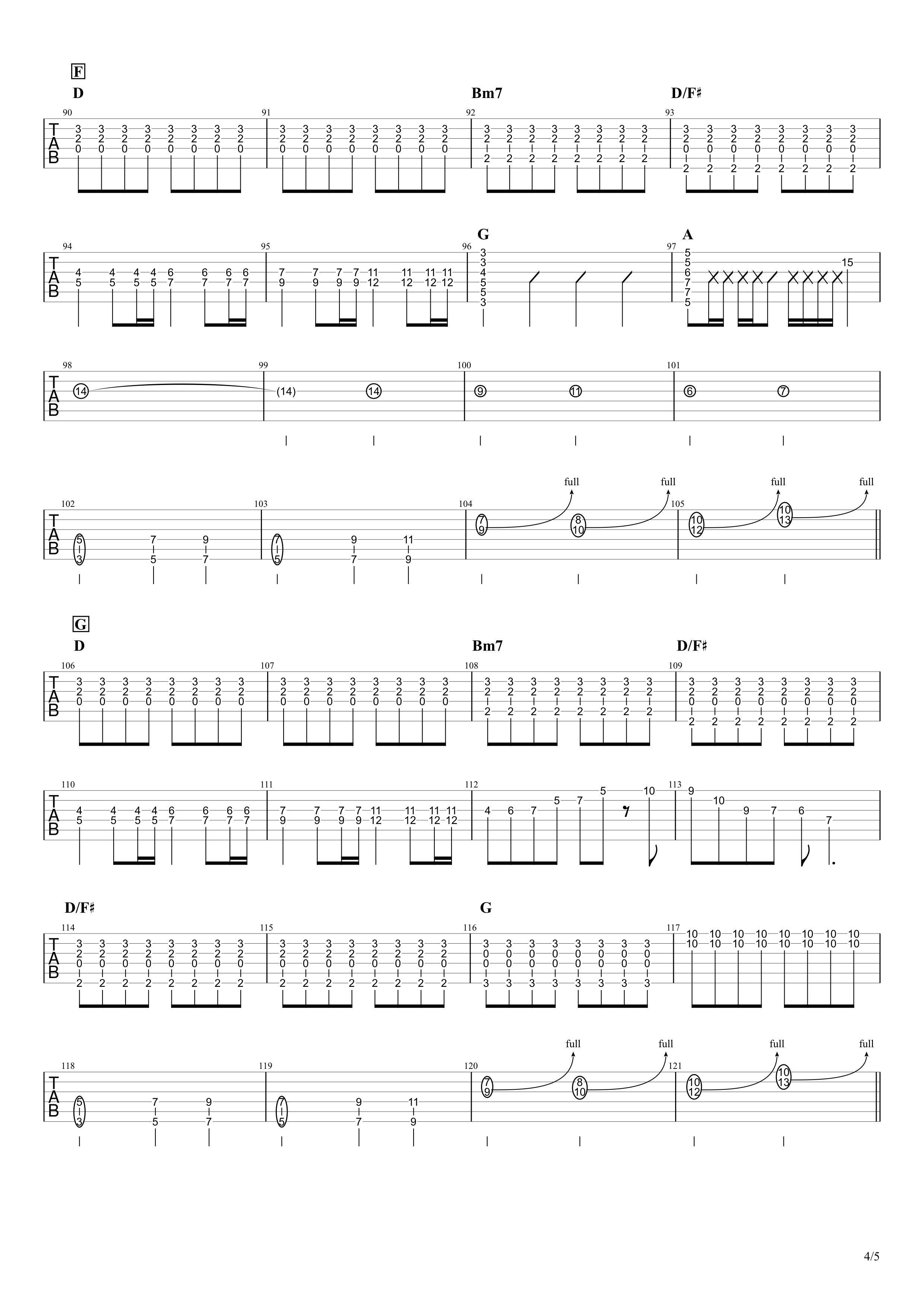天体観測/BUMP OF CHICKEN ギタータブ譜 ほぼ完コピVer.04