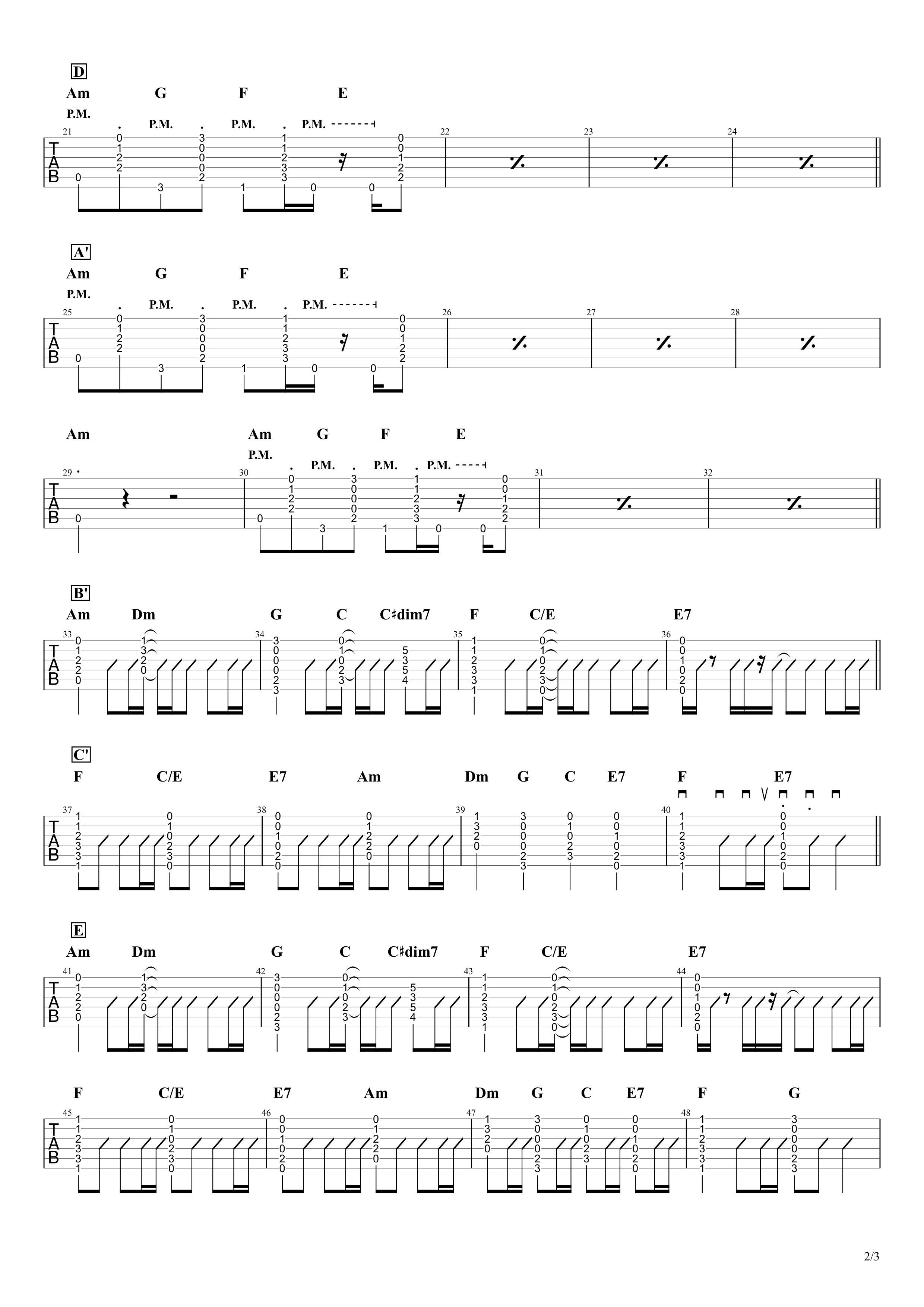 春ひさぎ/ヨルシカ ギタータブ譜 コードストロークざっくり再現Ver.02