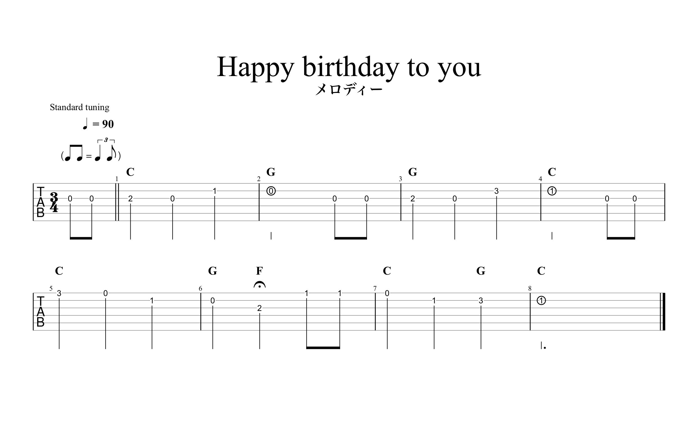Happy birthday to you(ハッピーバースデートゥーユー)|ギターでメロディー弾き