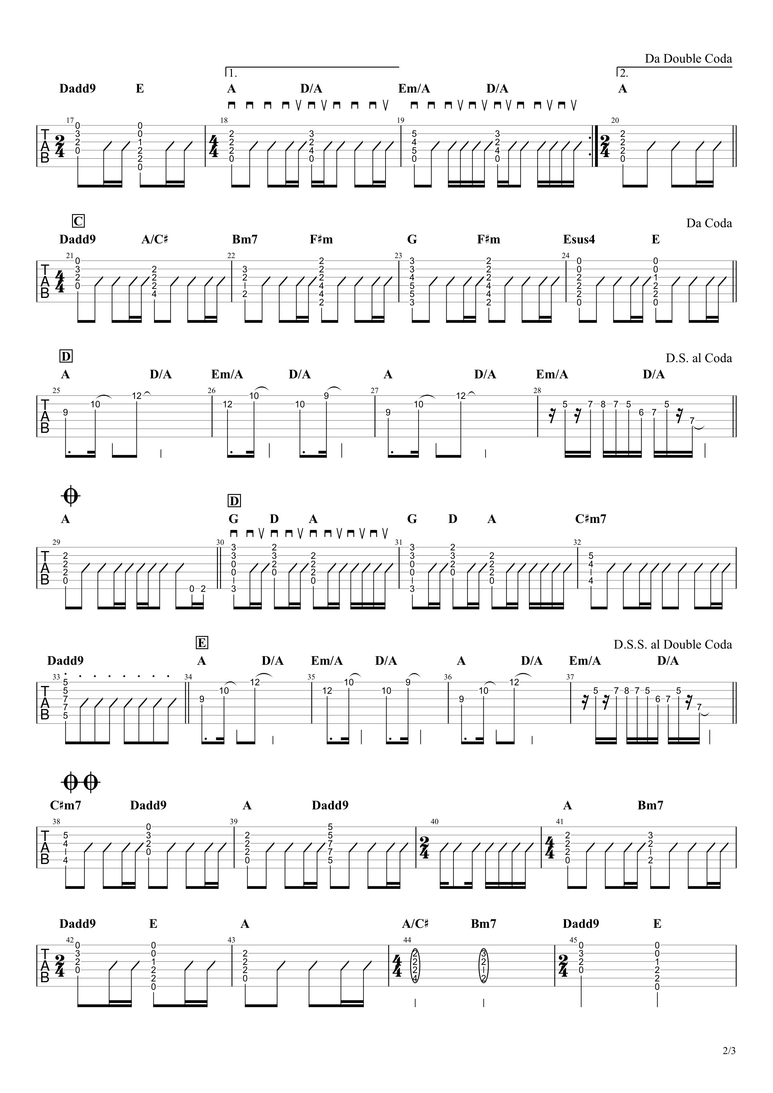 supernova/BUMP OF CHICKEN ギタータブ譜 アコギコードストローク&間奏リードギターVer.02