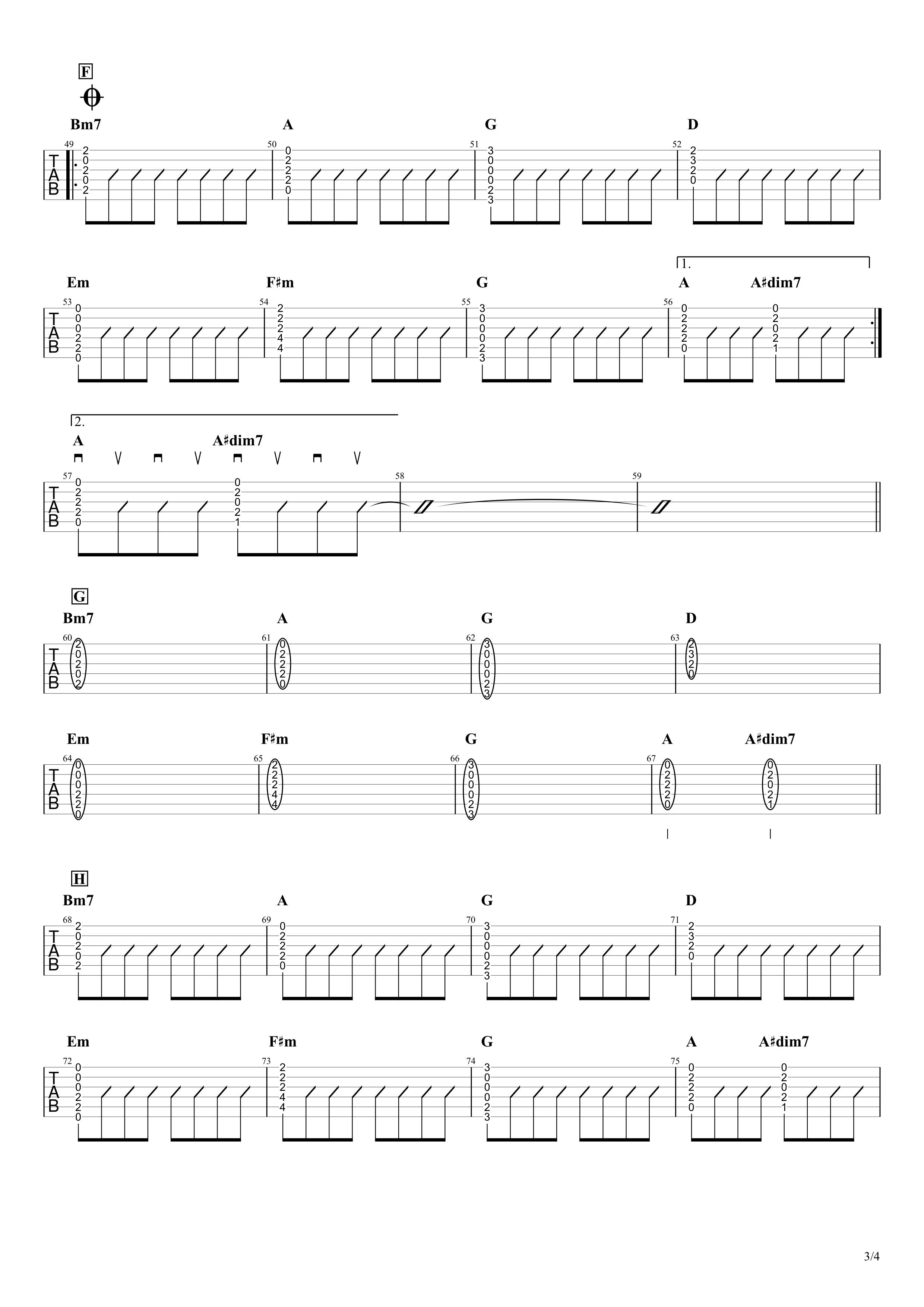 umbrella/SEKAI NO OWARI ギタータブ譜 初心者向け簡単コードVer.03