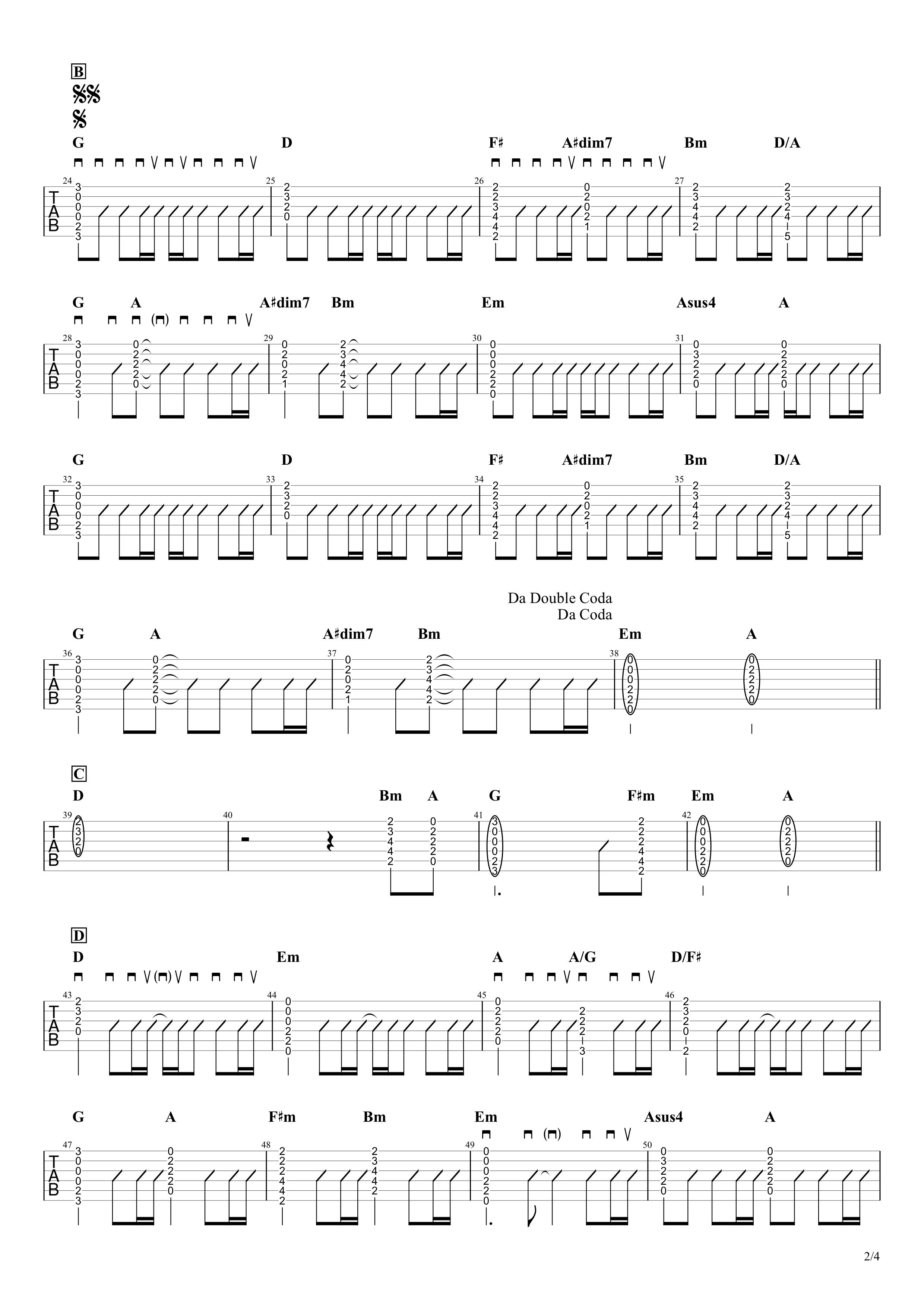 瞳/大原櫻子 ギタータブ譜 アコギストロークVer.02
