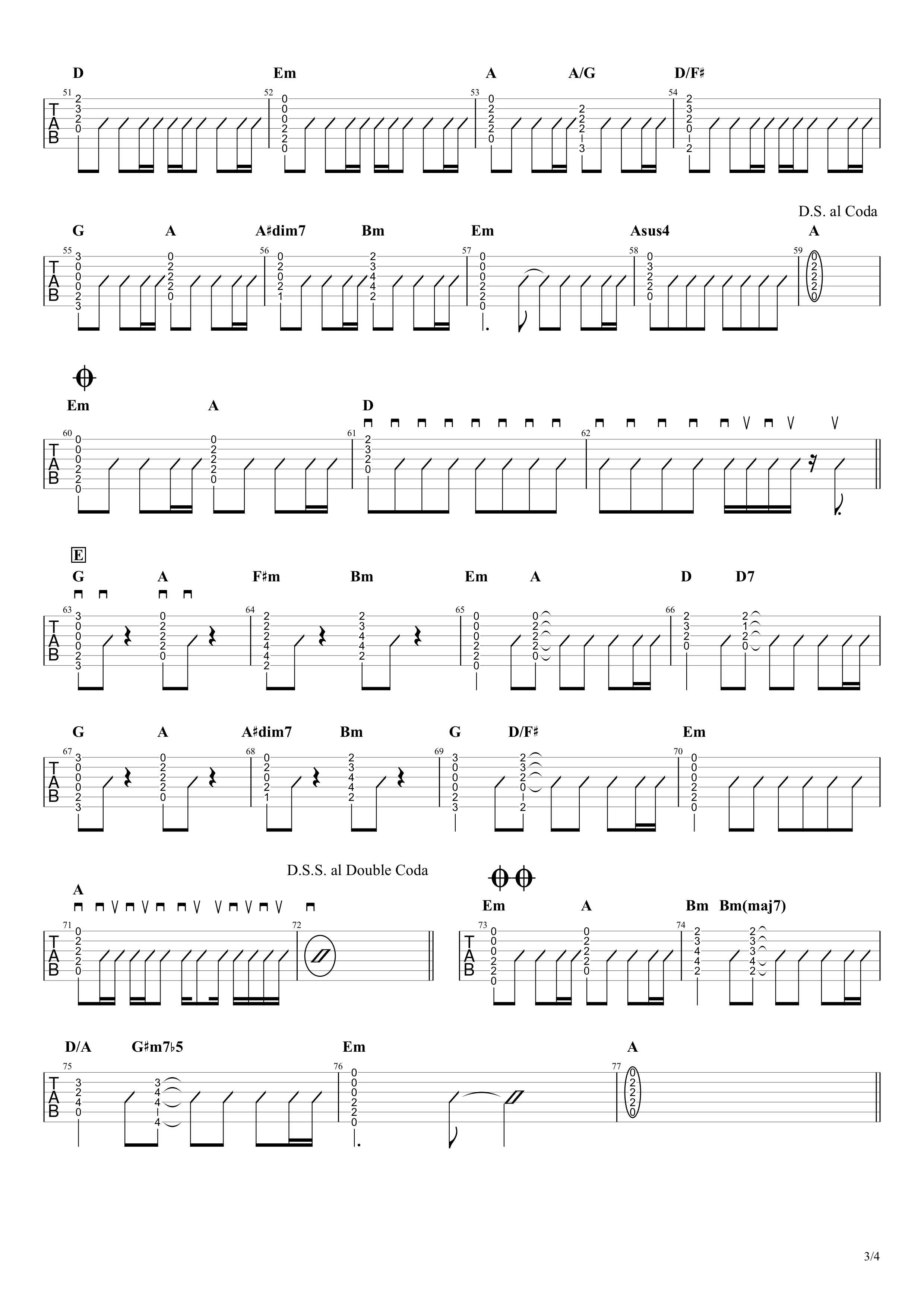 瞳/大原櫻子 ギタータブ譜 アコギストロークVer.03