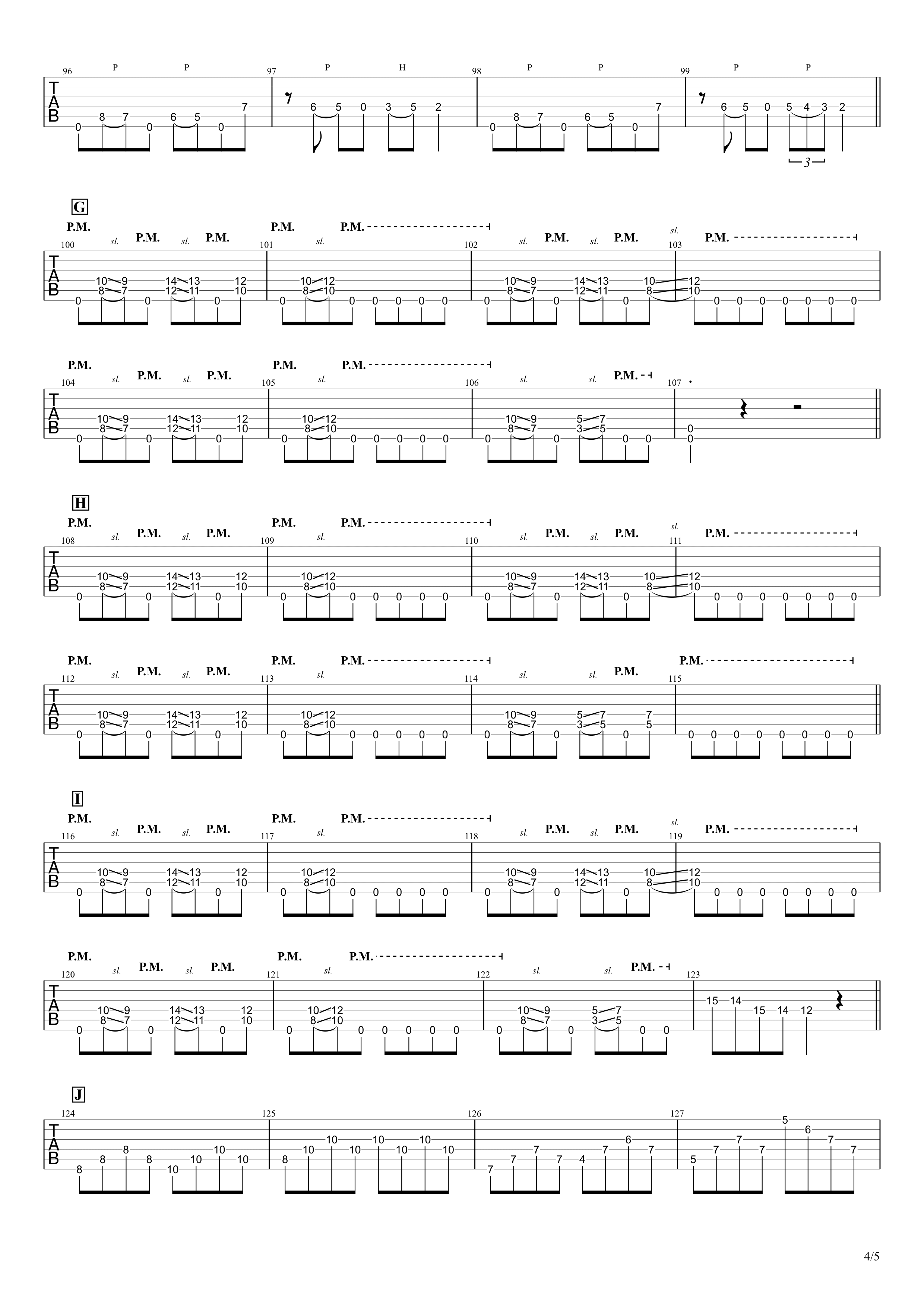 金色グラフティー/ROTTENGRAFFTY ギタータブ譜 リードギターほぼ完コピVer.04