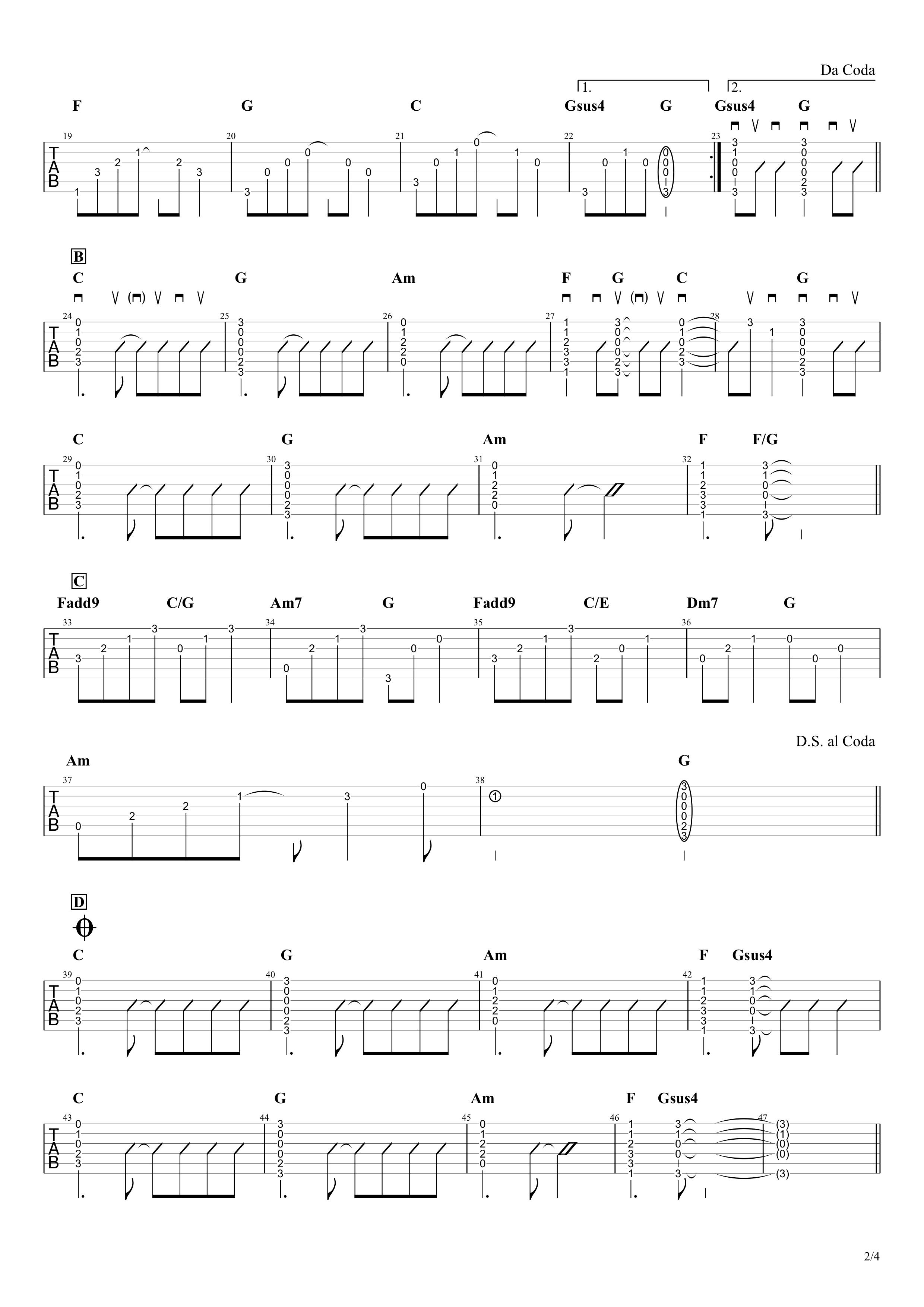 長い間/Kiroro ギタータブ譜 アルペジオ&コードストロークで弾くVer.02