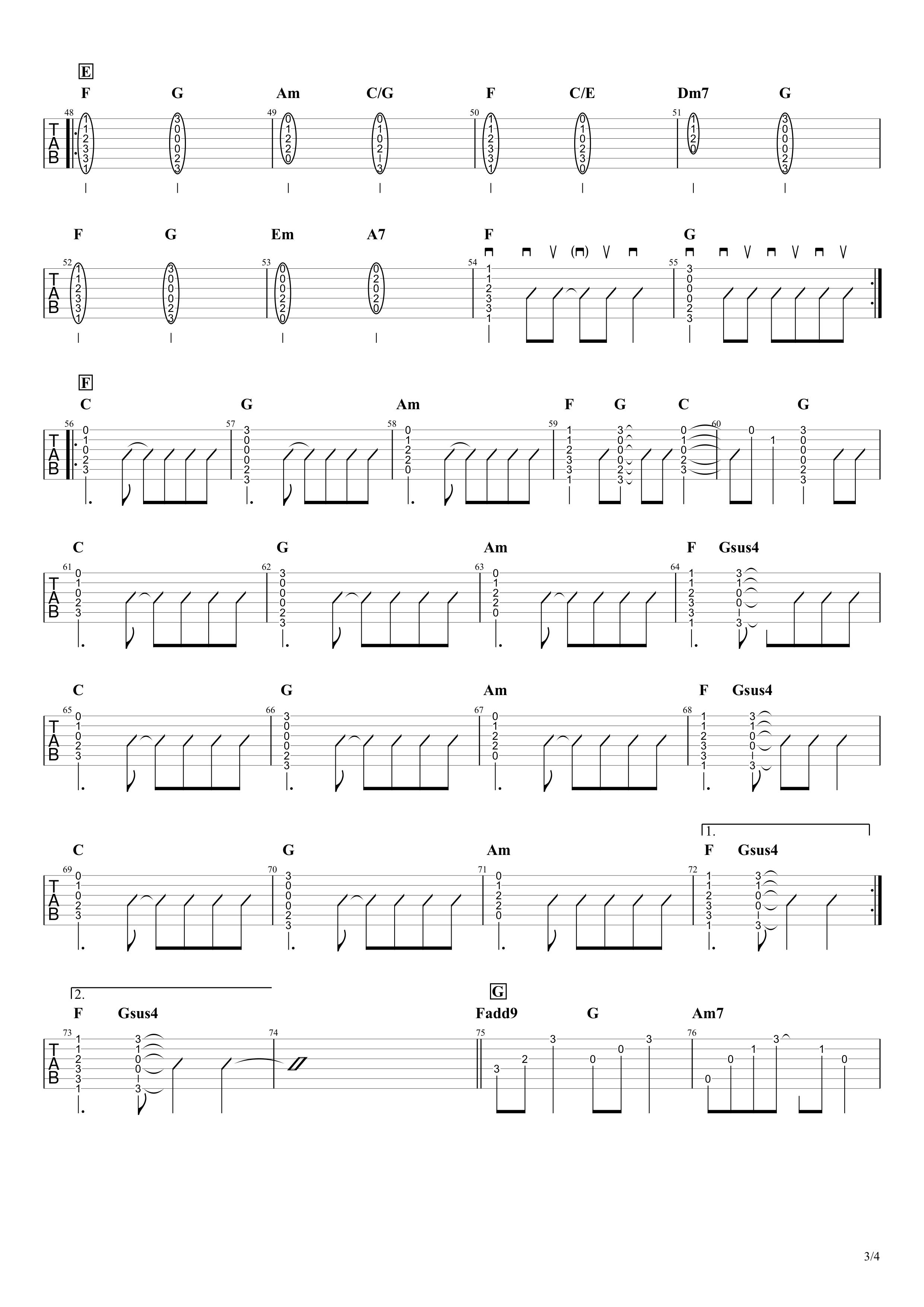 長い間/Kiroro ギタータブ譜 アルペジオ&コードストロークで弾くVer.03