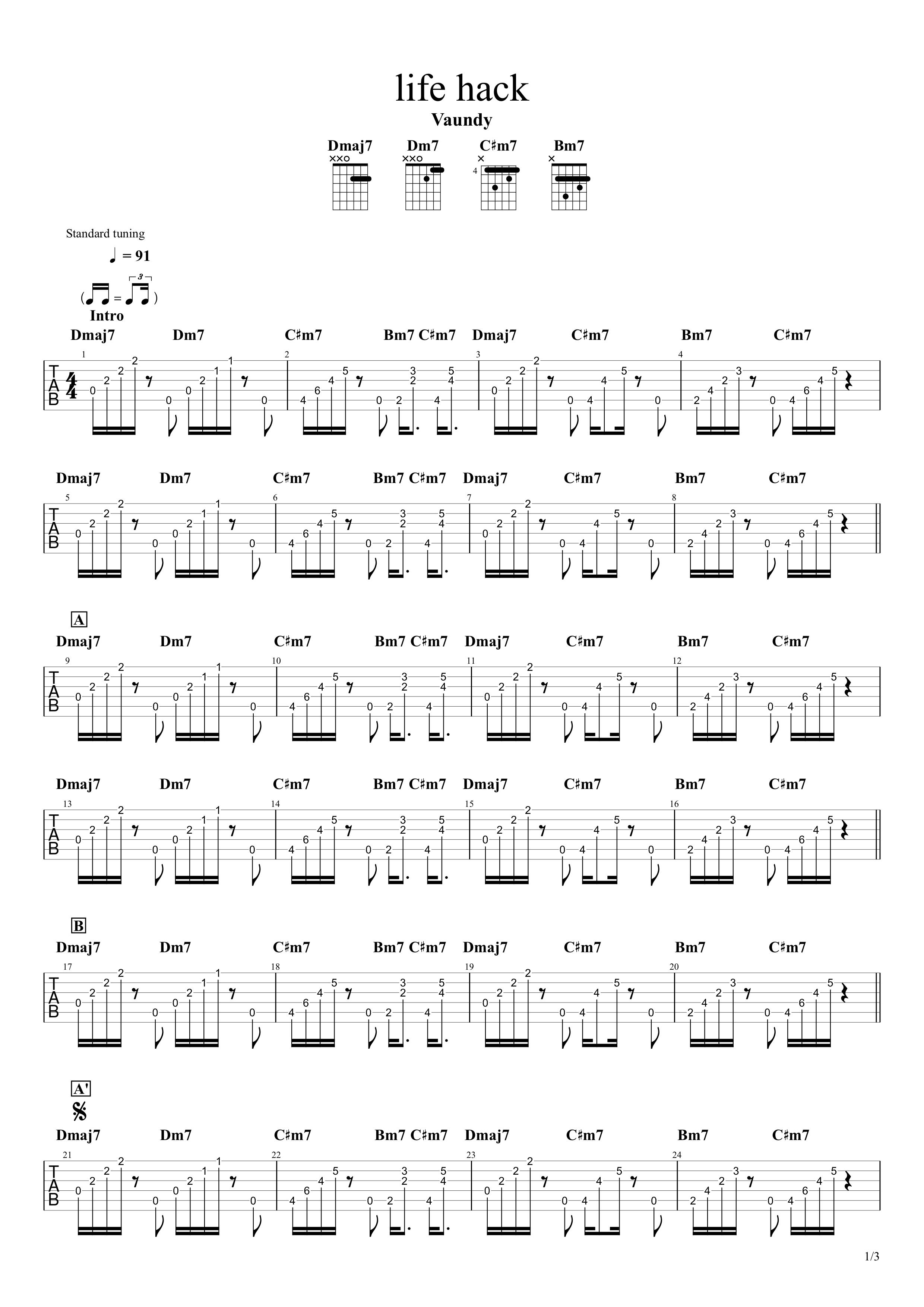 life hack/Vaundy ギタータブ譜 アルペジオほぼ完コピVer.01