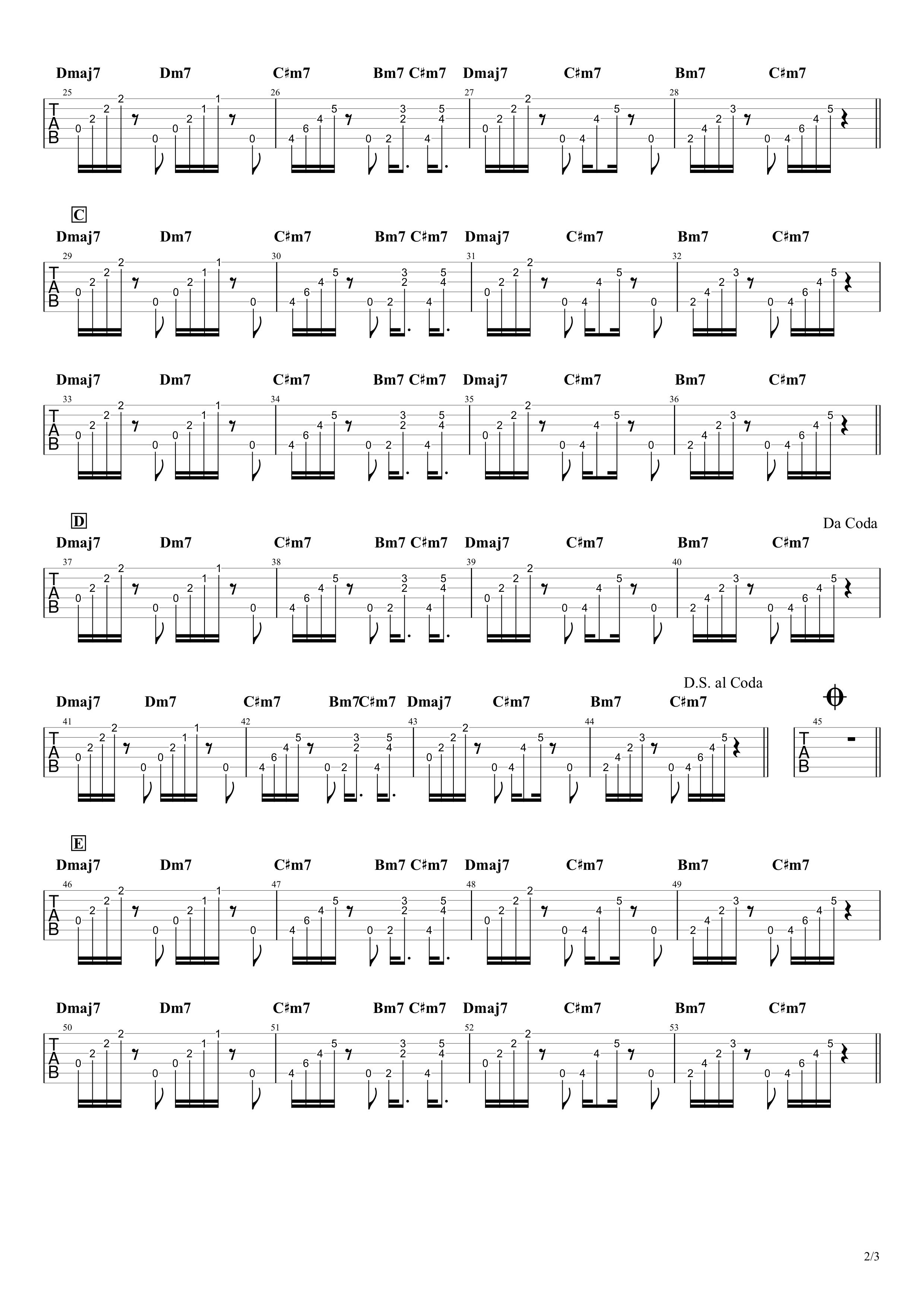 life hack/Vaundy ギタータブ譜 アルペジオほぼ完コピVer.02